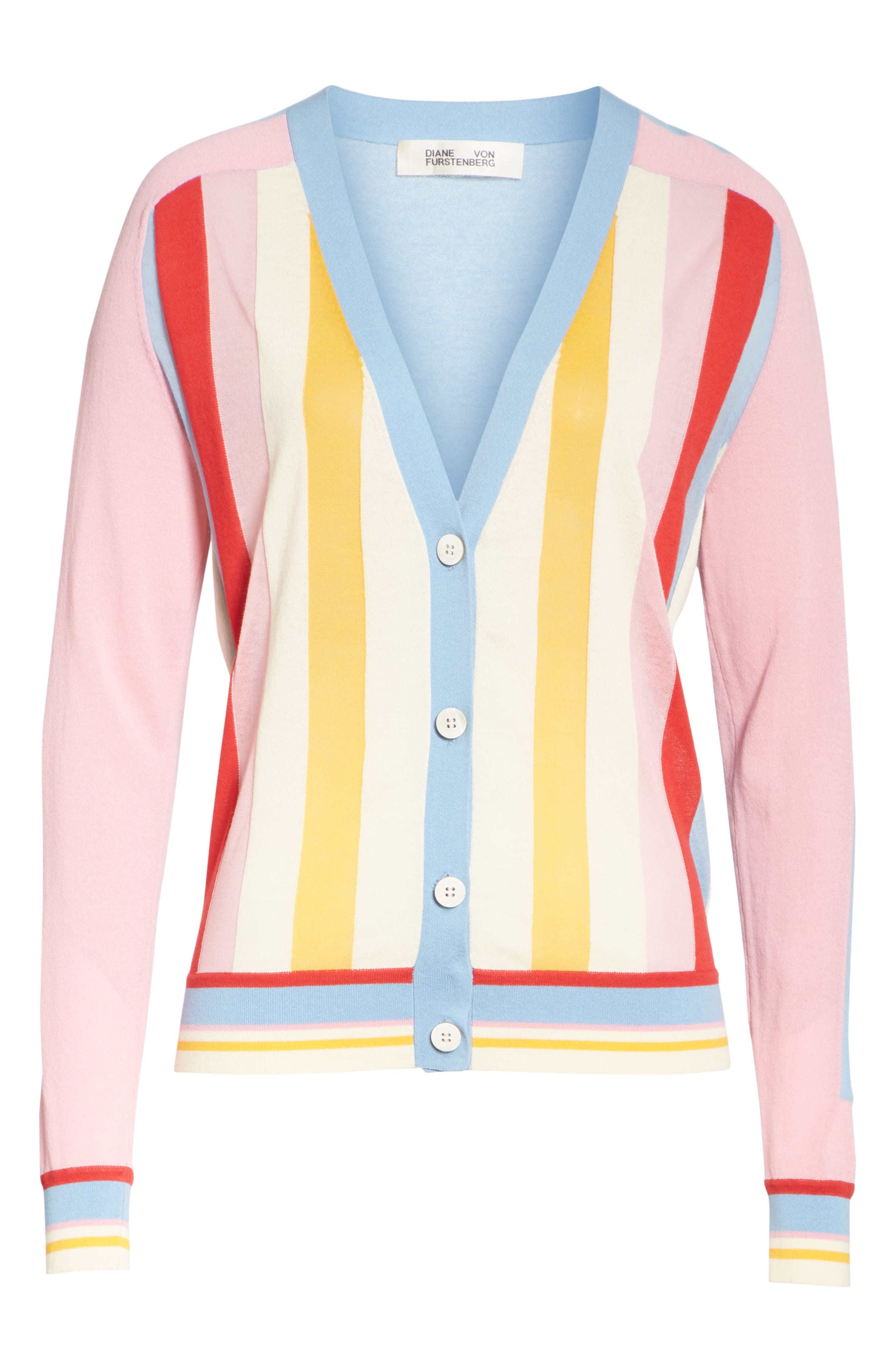 Diane von Furstenberg Colorblock Stripe Cardigan,                             Alternate thumbnail 6, color,                             Taffy Multi