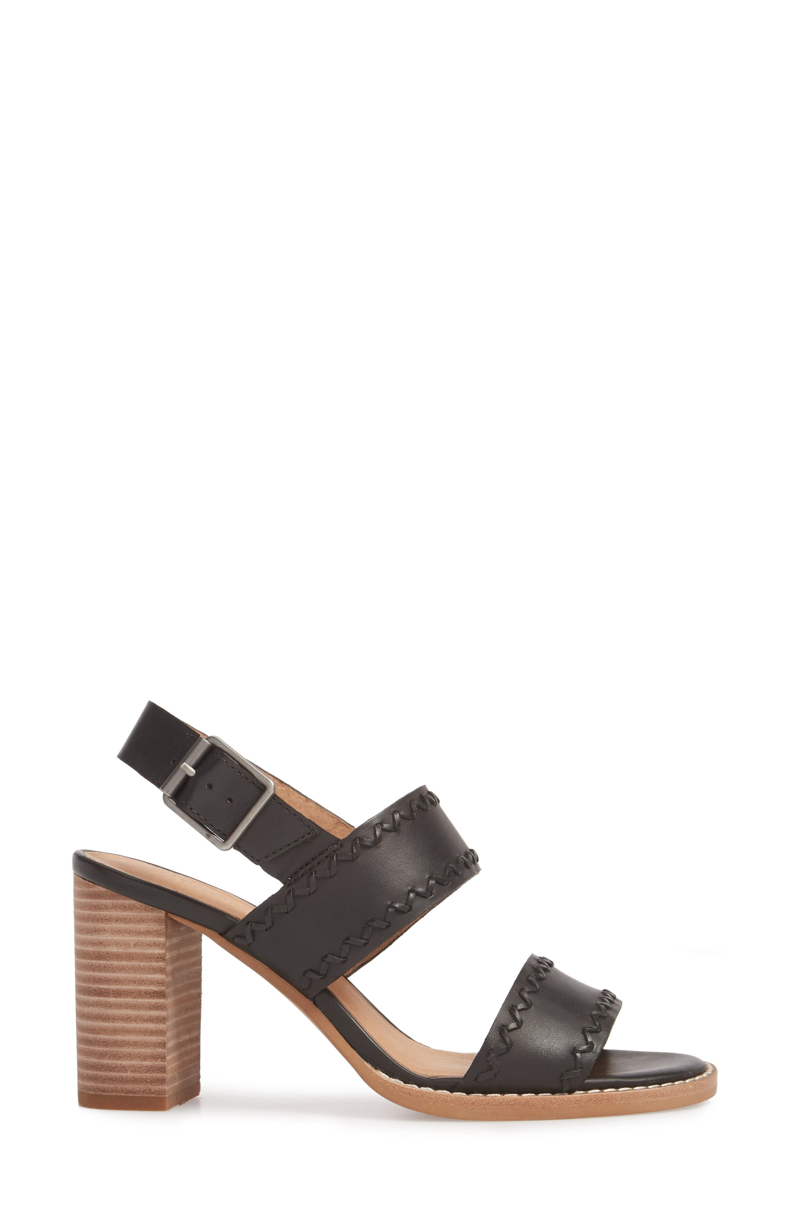 Giana Sandal,                             Alternate thumbnail 3, color,                             True Black Leather