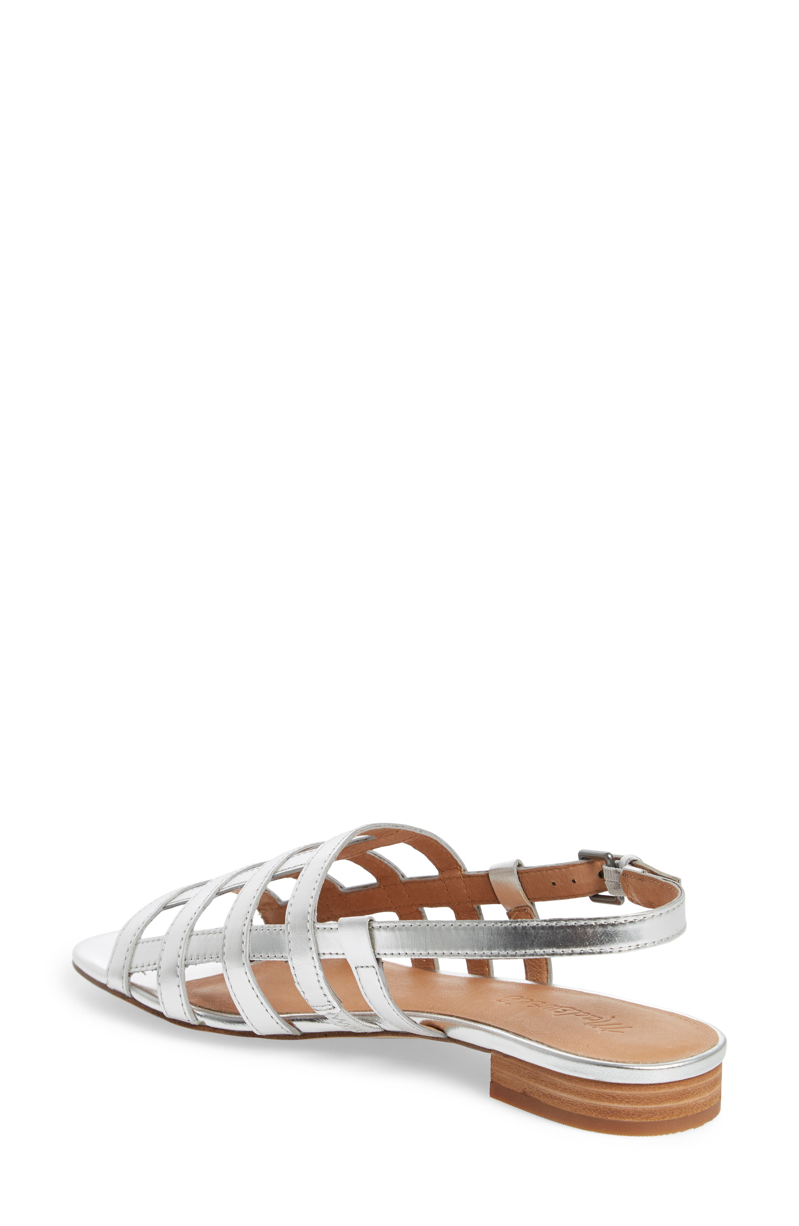 Rowan Cage Sandal,                             Alternate thumbnail 2, color,                             Silver Metallic Leather