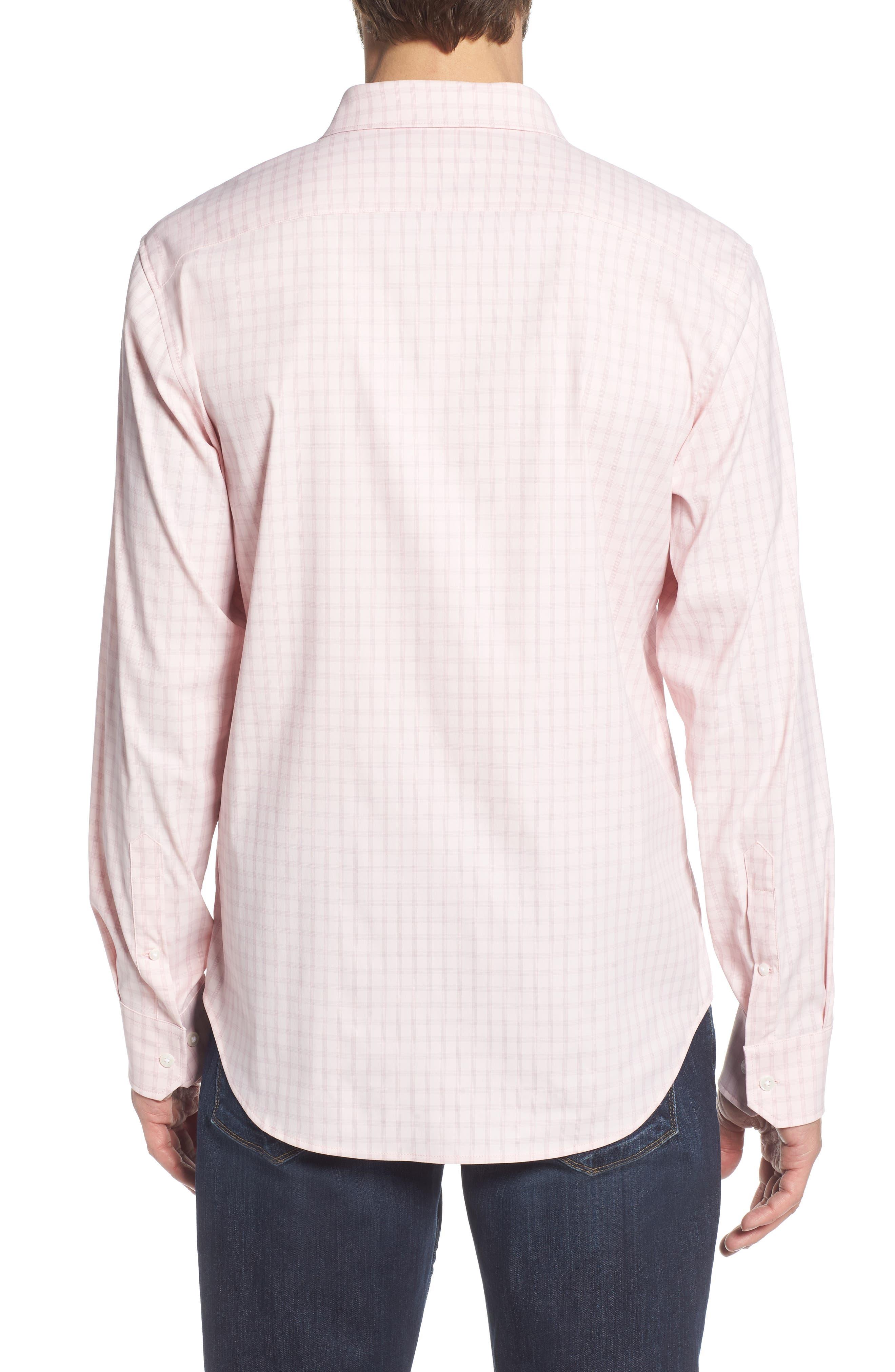 Slim Fit Check Performance Sport Shirt,                             Alternate thumbnail 3, color,                             Gulf Point Plaid - Skiivy Pink