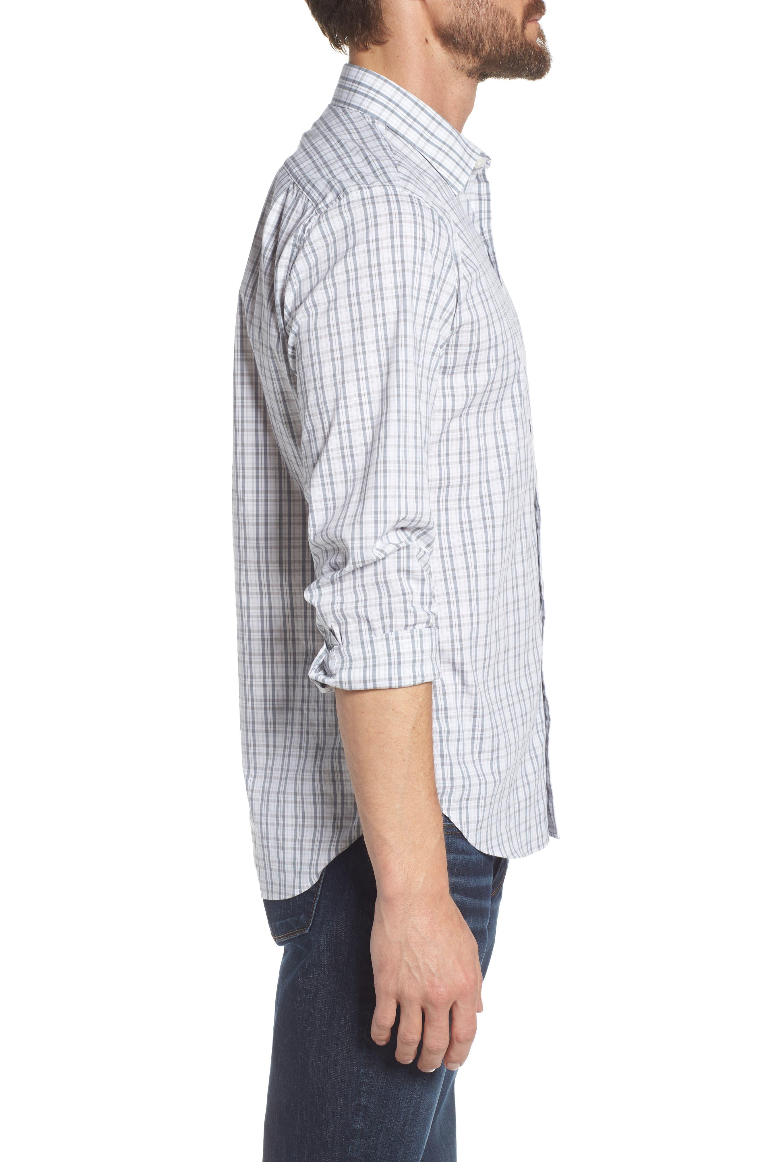 Unbutton Down Slim Fit Plaid Sport Shirt,                             Alternate thumbnail 4, color,                             Round Hill Plaid - Sterling