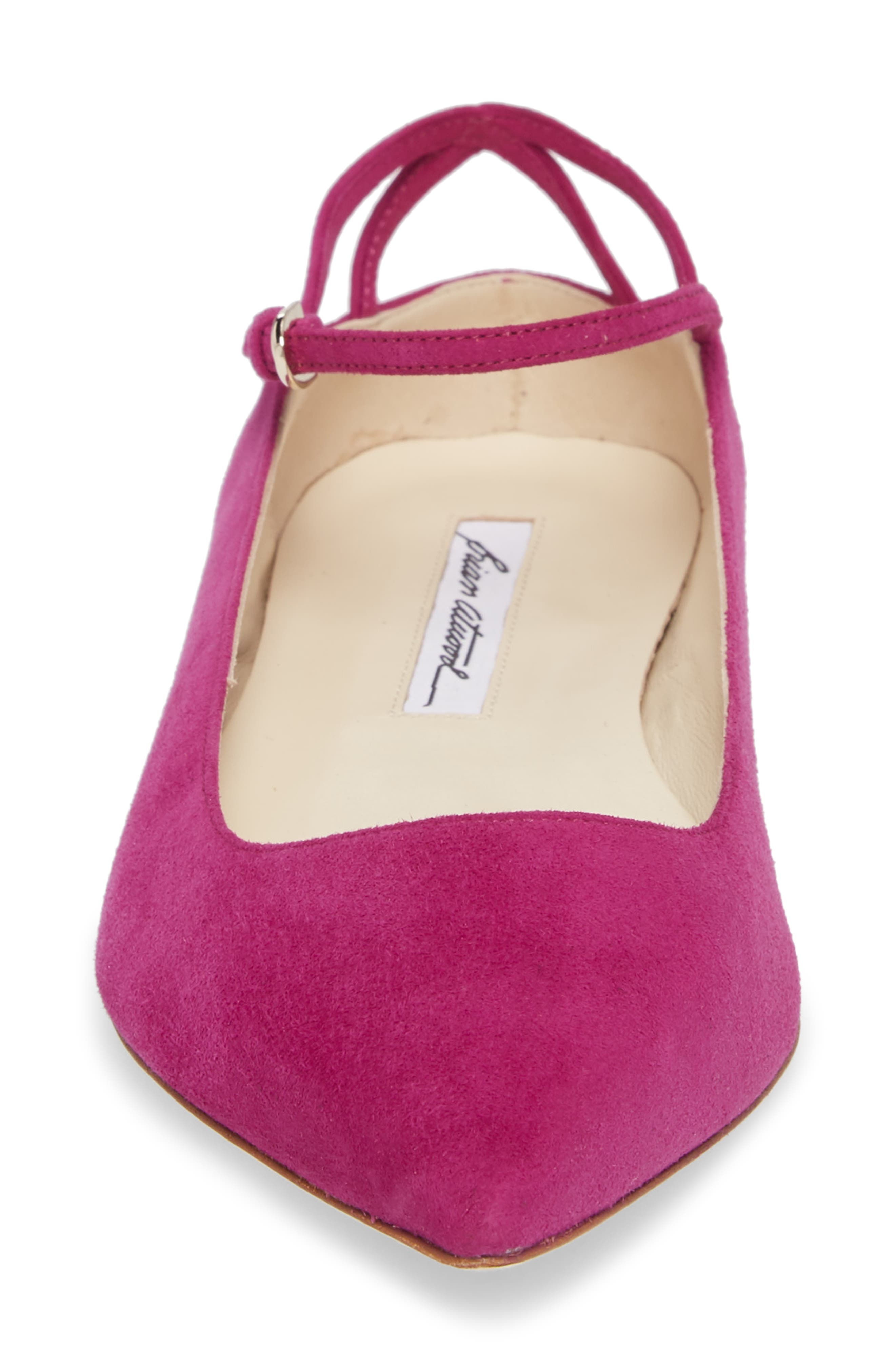Astrid Ankle Strap Flat,                             Alternate thumbnail 4, color,                             Bouganvilla Kidsuede