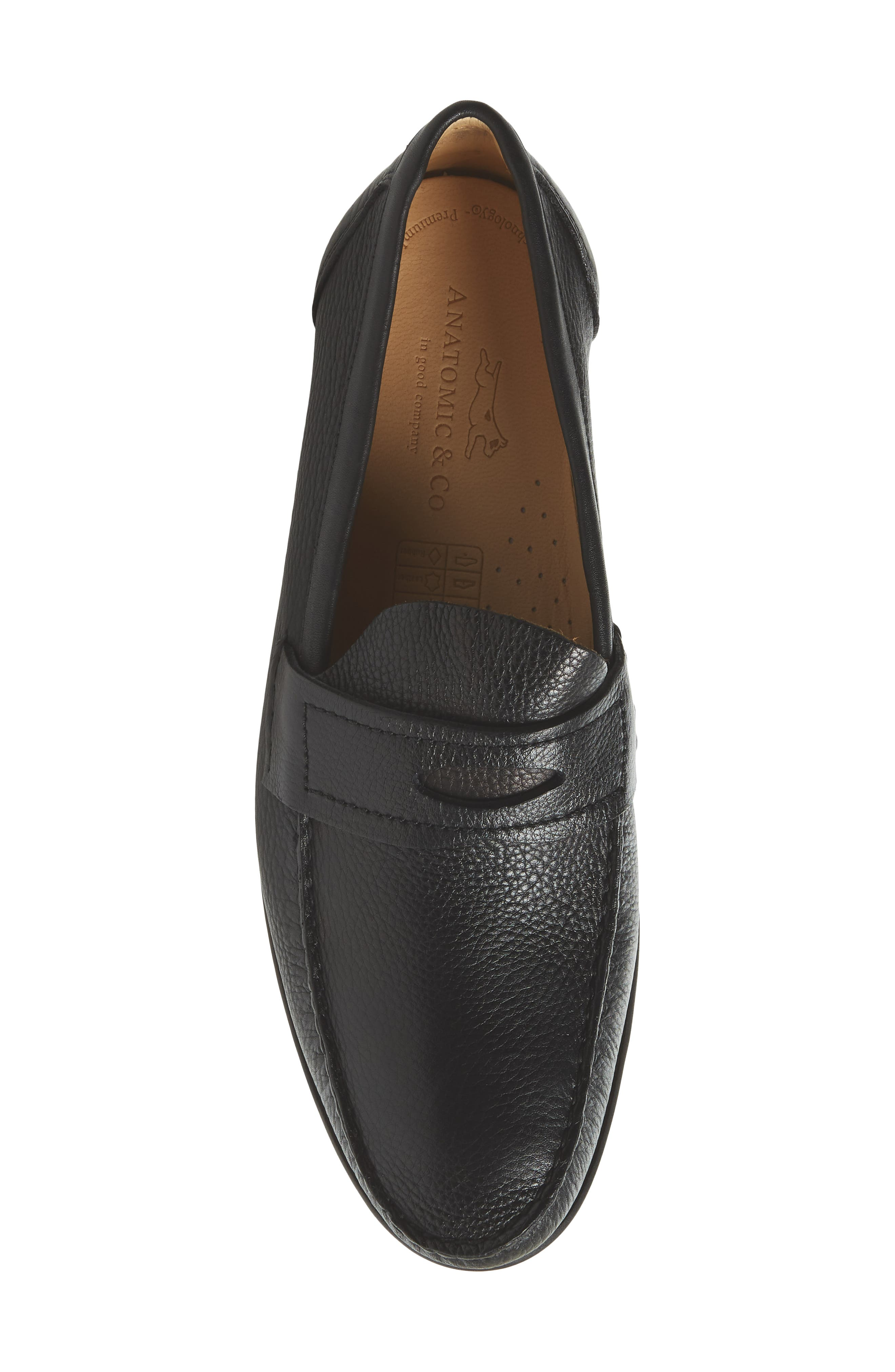 Eric Moc Toe Slip-On Loafer,                             Alternate thumbnail 5, color,                             Floater Black Leather