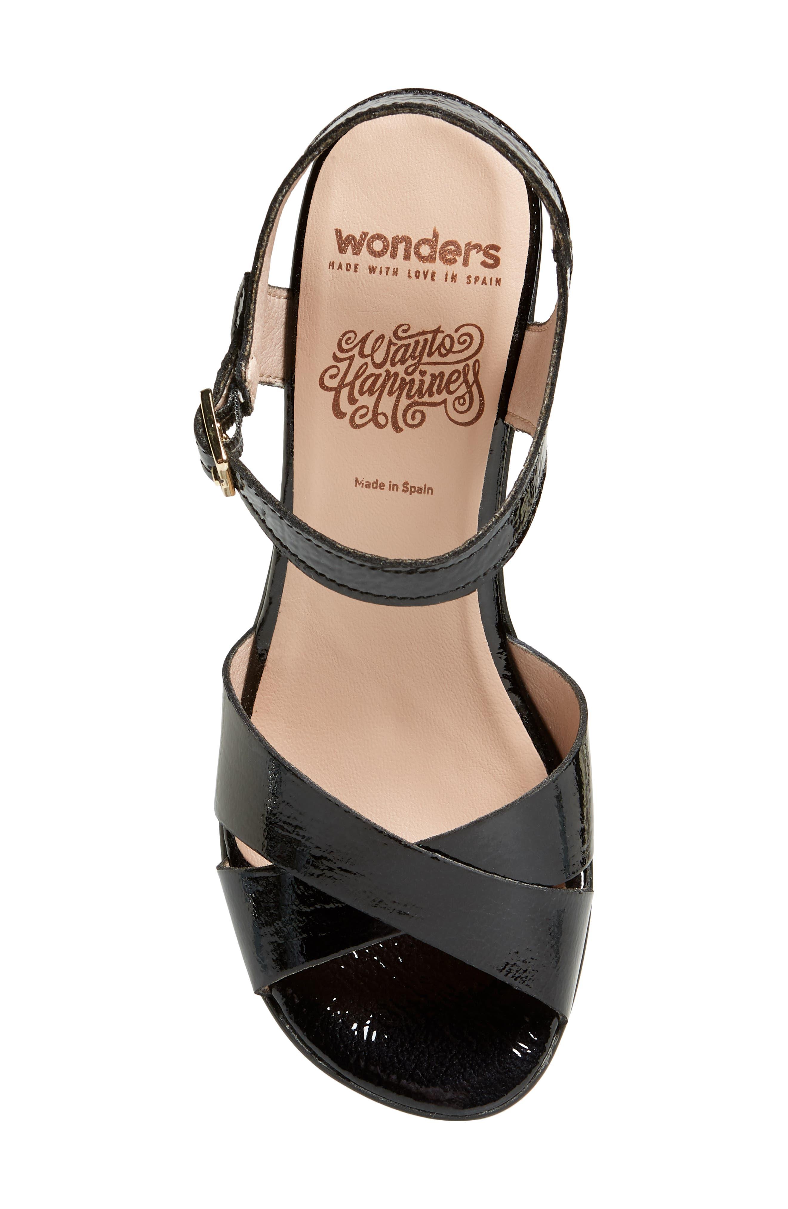 Platform Sandal,                             Alternate thumbnail 5, color,                             Black Patent Leather