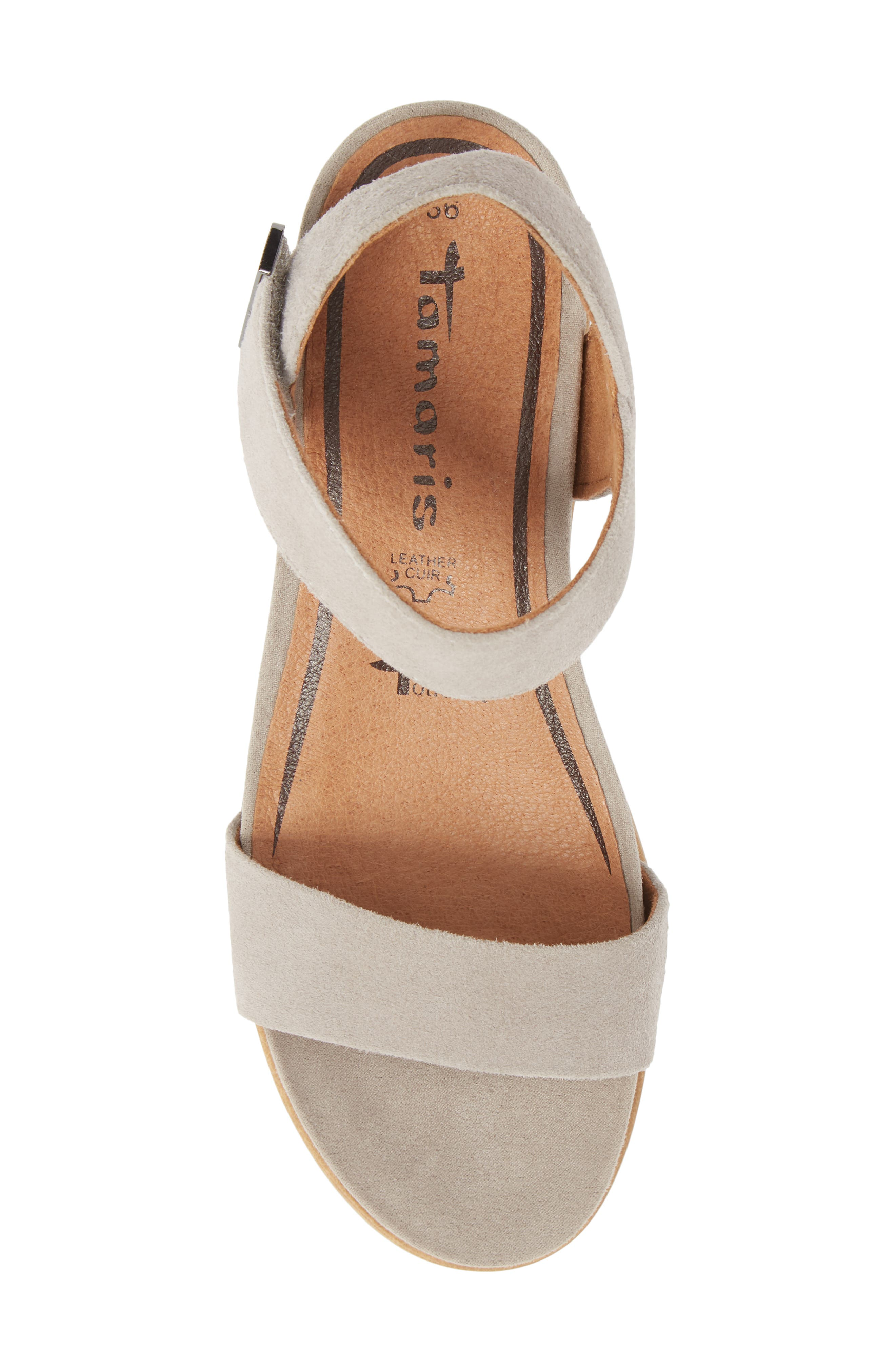 Cory Wedge Sandal,                             Alternate thumbnail 5, color,                             Cloud Suede
