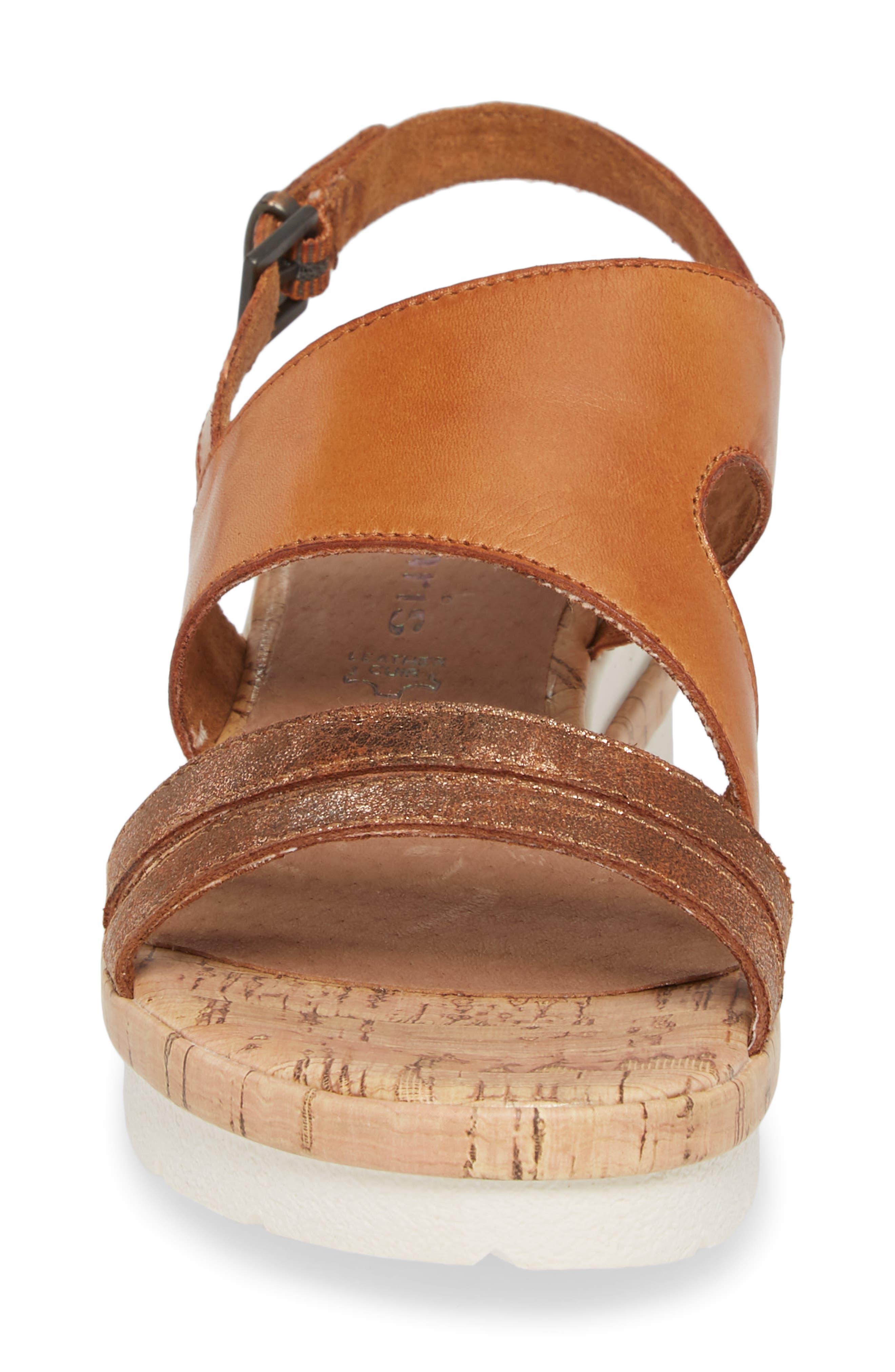 Eda Wedge Sandal,                             Alternate thumbnail 4, color,                             Nut Leather