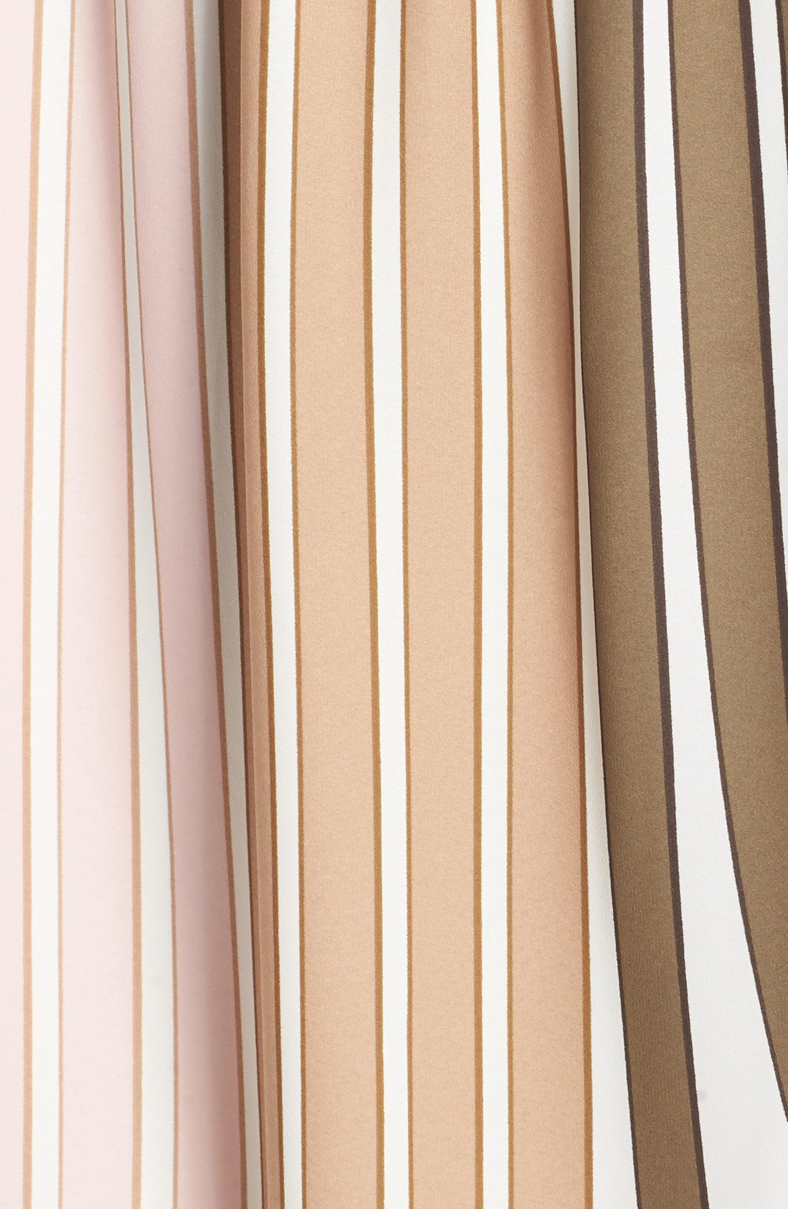 Beta Stripe Georgette Fit & Flare Dress,                             Alternate thumbnail 6, color,                             Olive Multi