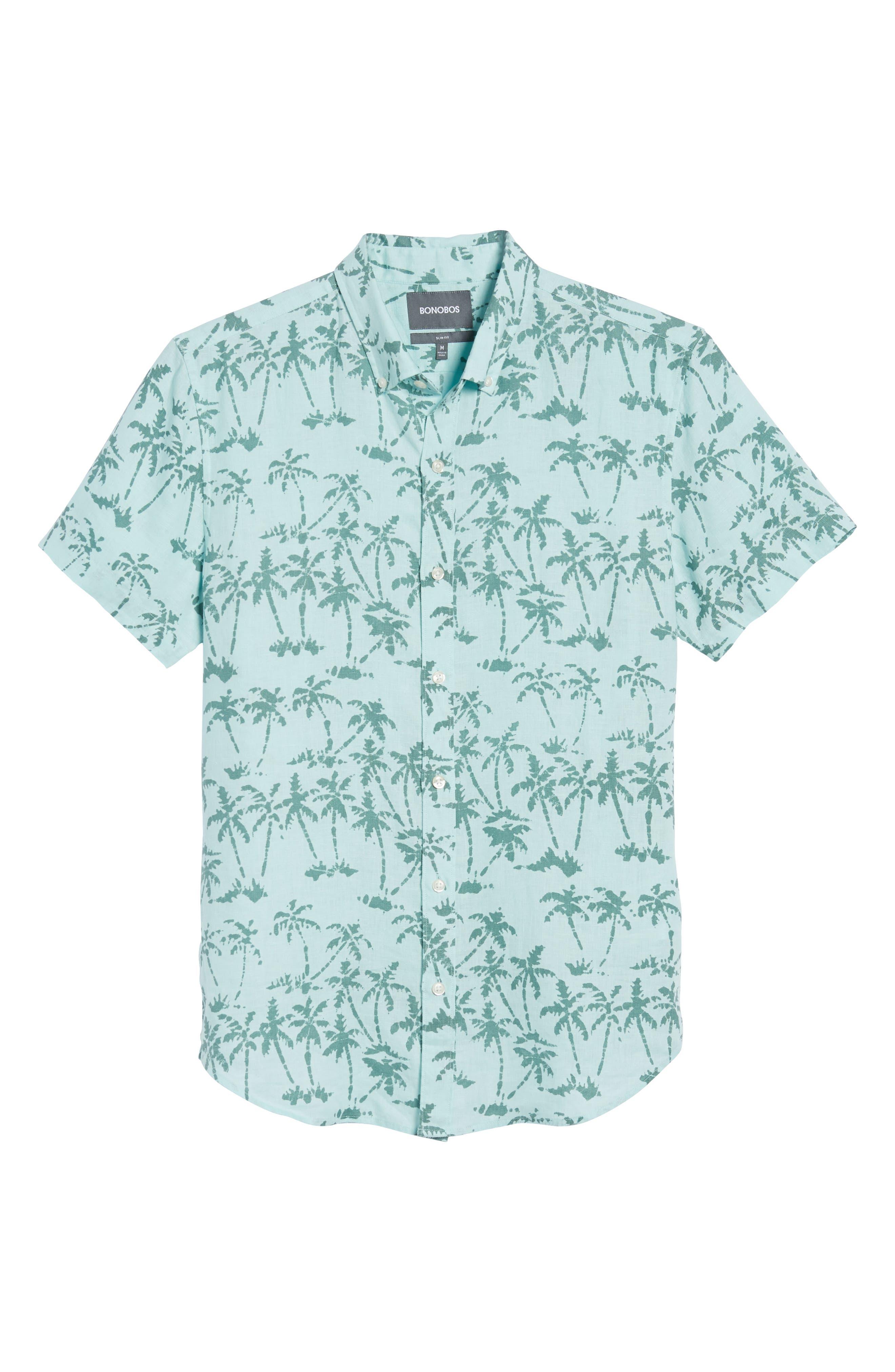 Riviera Slim Fit Palm Print Linen Sport Shirt,                             Alternate thumbnail 6, color,                             Batik Palms - Hockney Pool