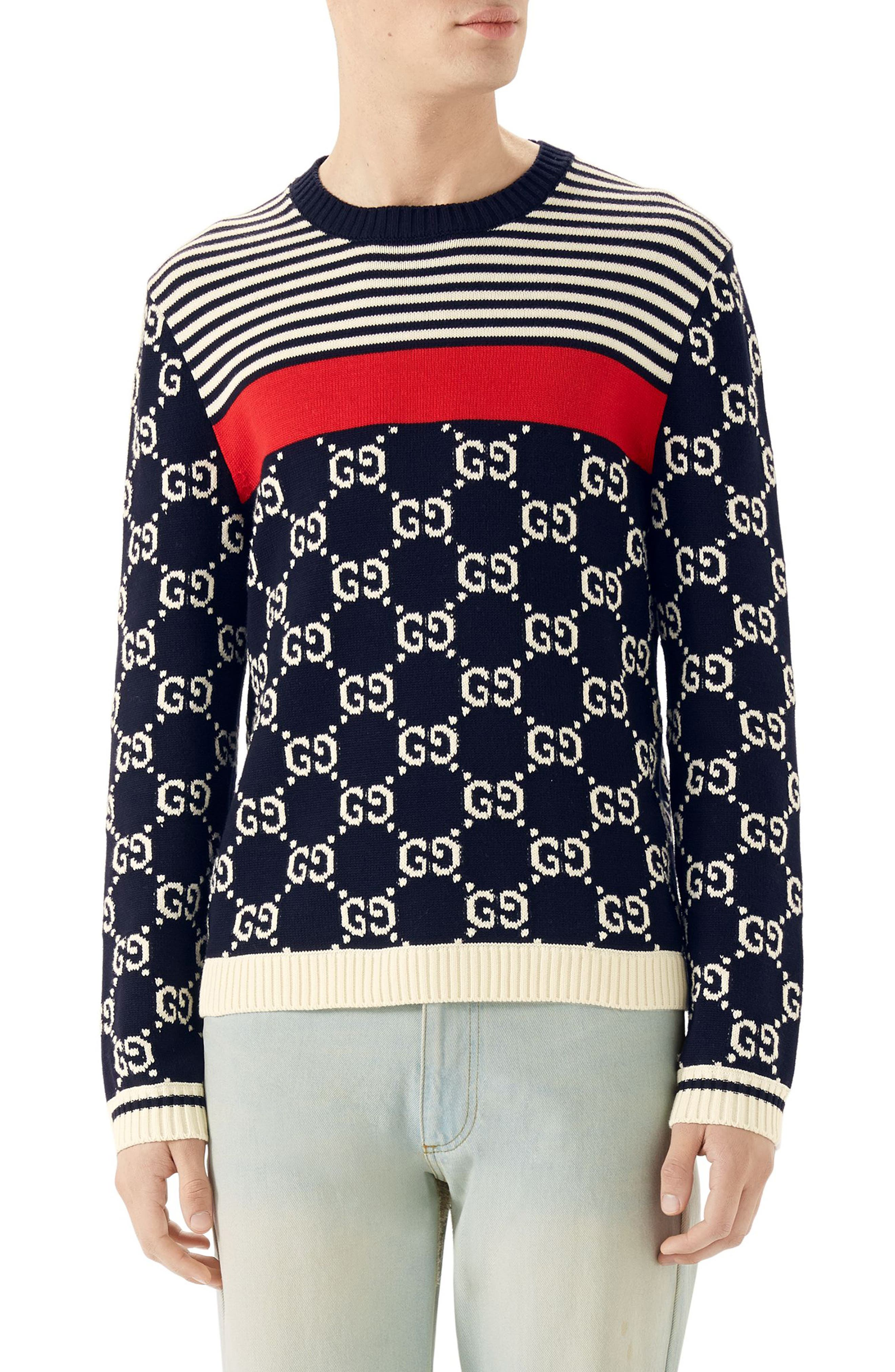 Stripe & Double-G Crewneck Sweater,                         Main,                         color, Milk