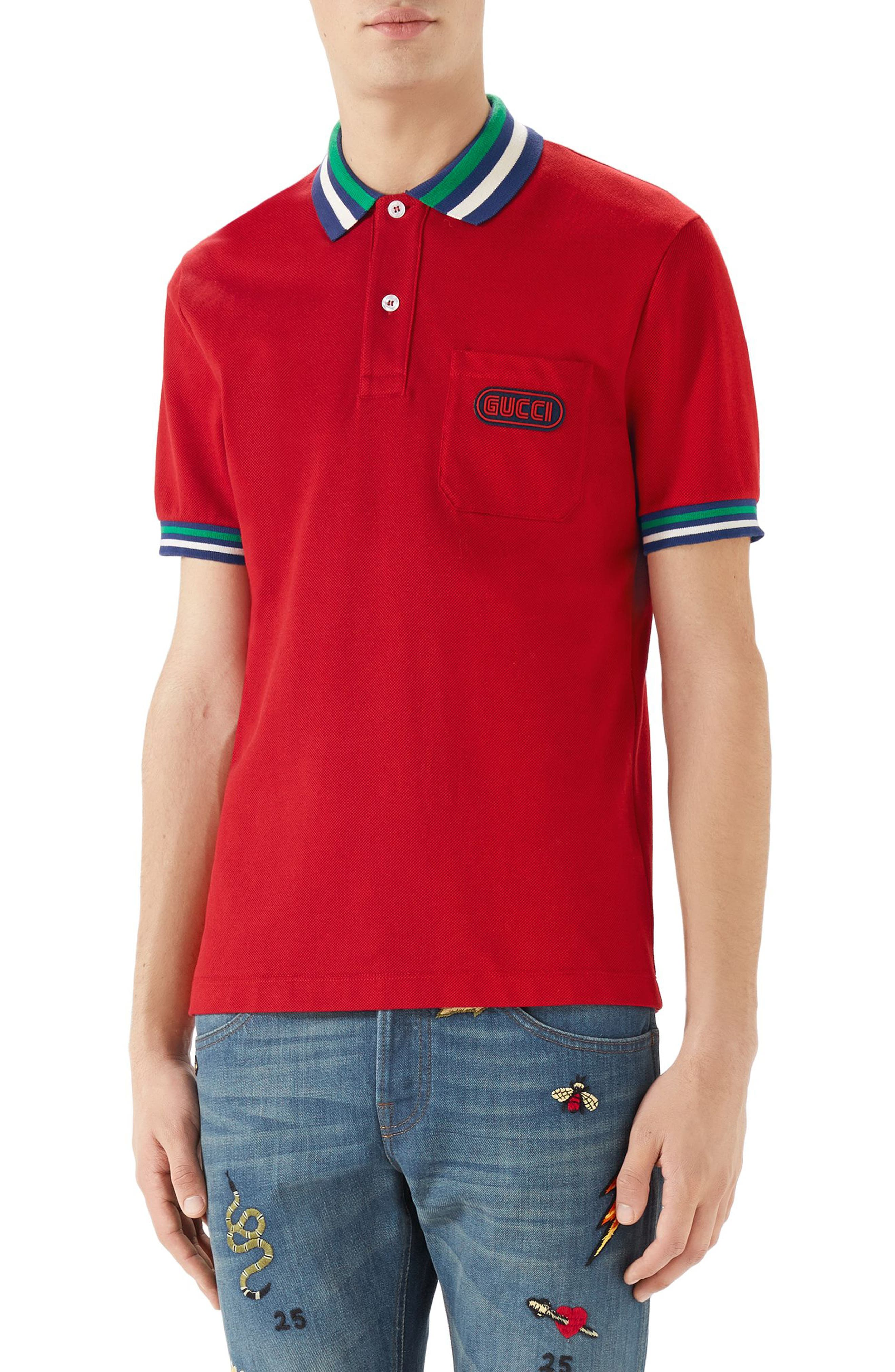 Logo Patch Tipped Piqué Polo,                             Main thumbnail 1, color,                             Red