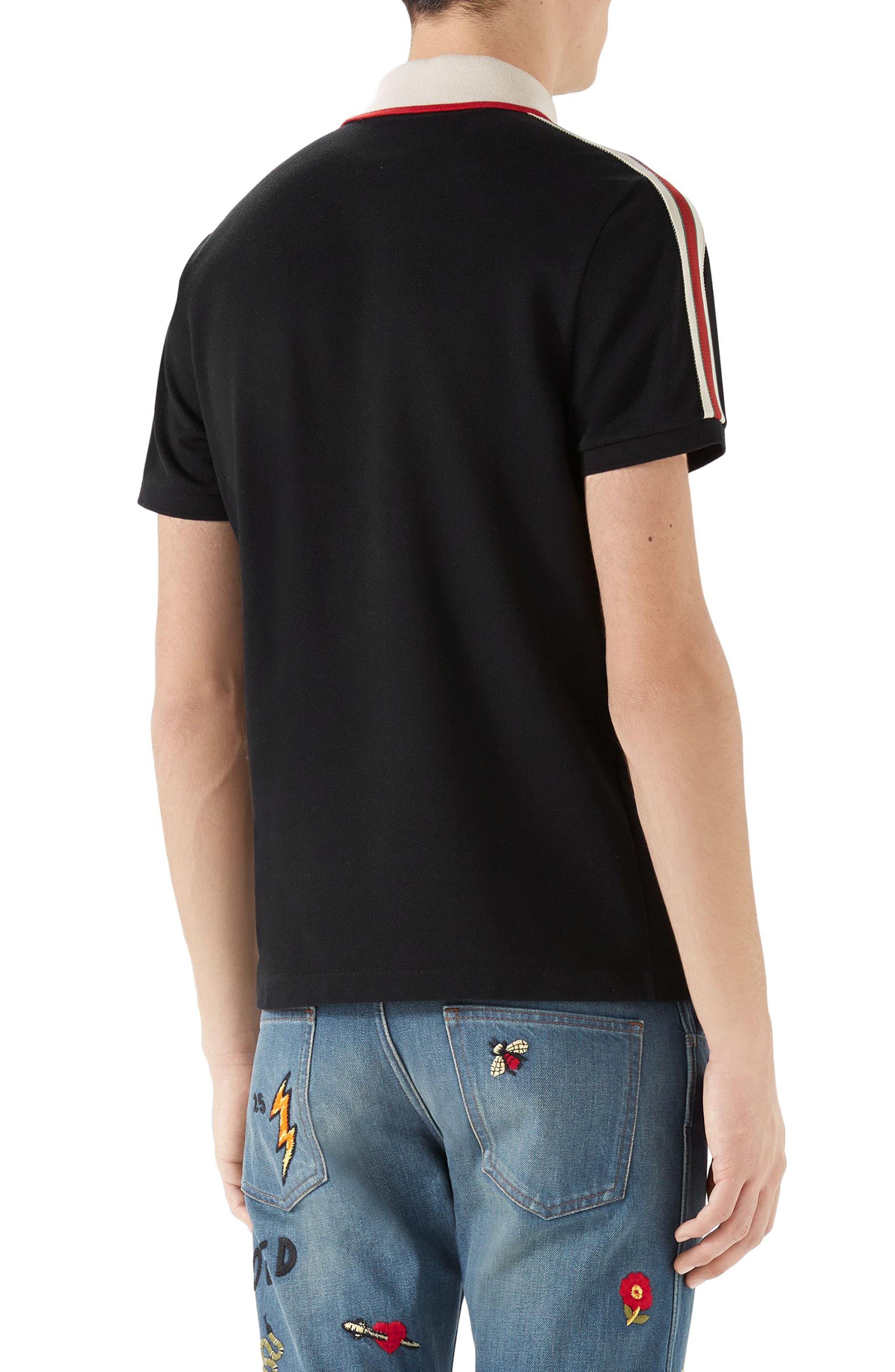 Jacquard Stripe Sleeve Piqué Polo,                             Alternate thumbnail 2, color,                             Black