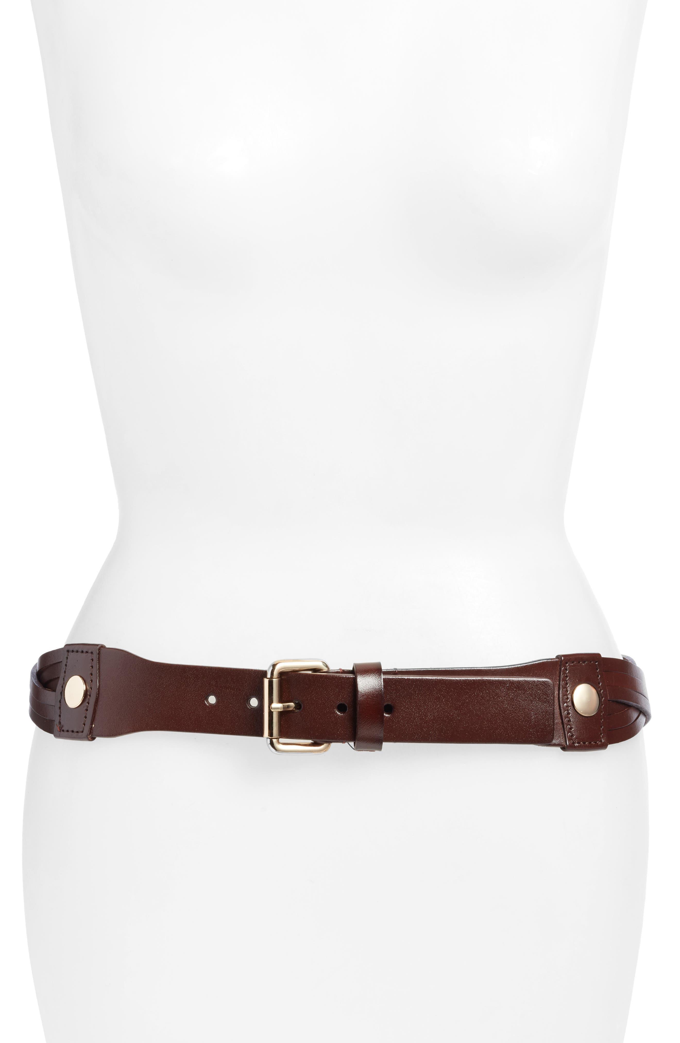 Hunter Twisted Leather Hip Belt,                         Main,                         color, Capp