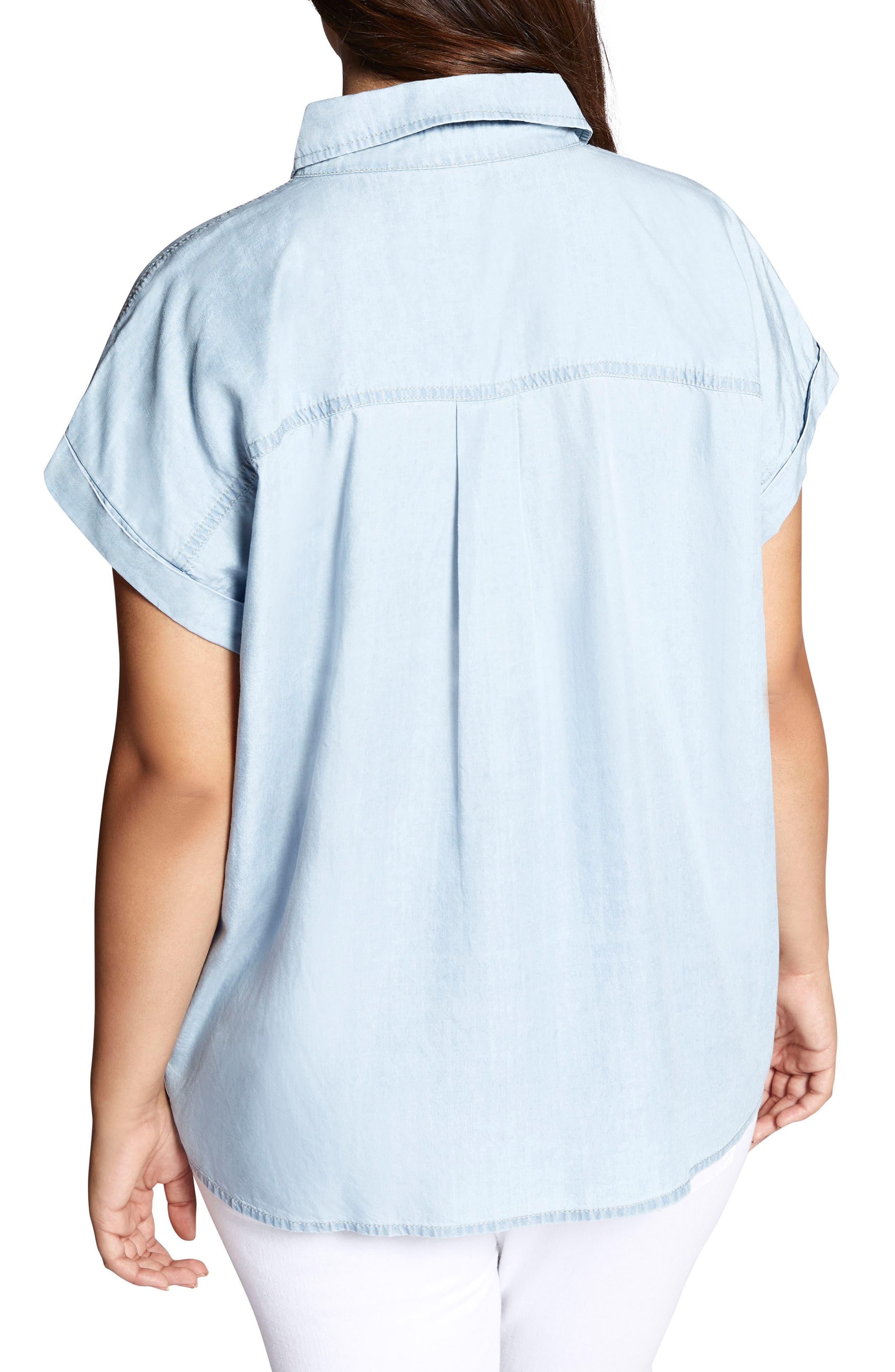 Mod Short Sleeve Boyfriend Shirt,                             Alternate thumbnail 2, color,                             Kaskade Wash