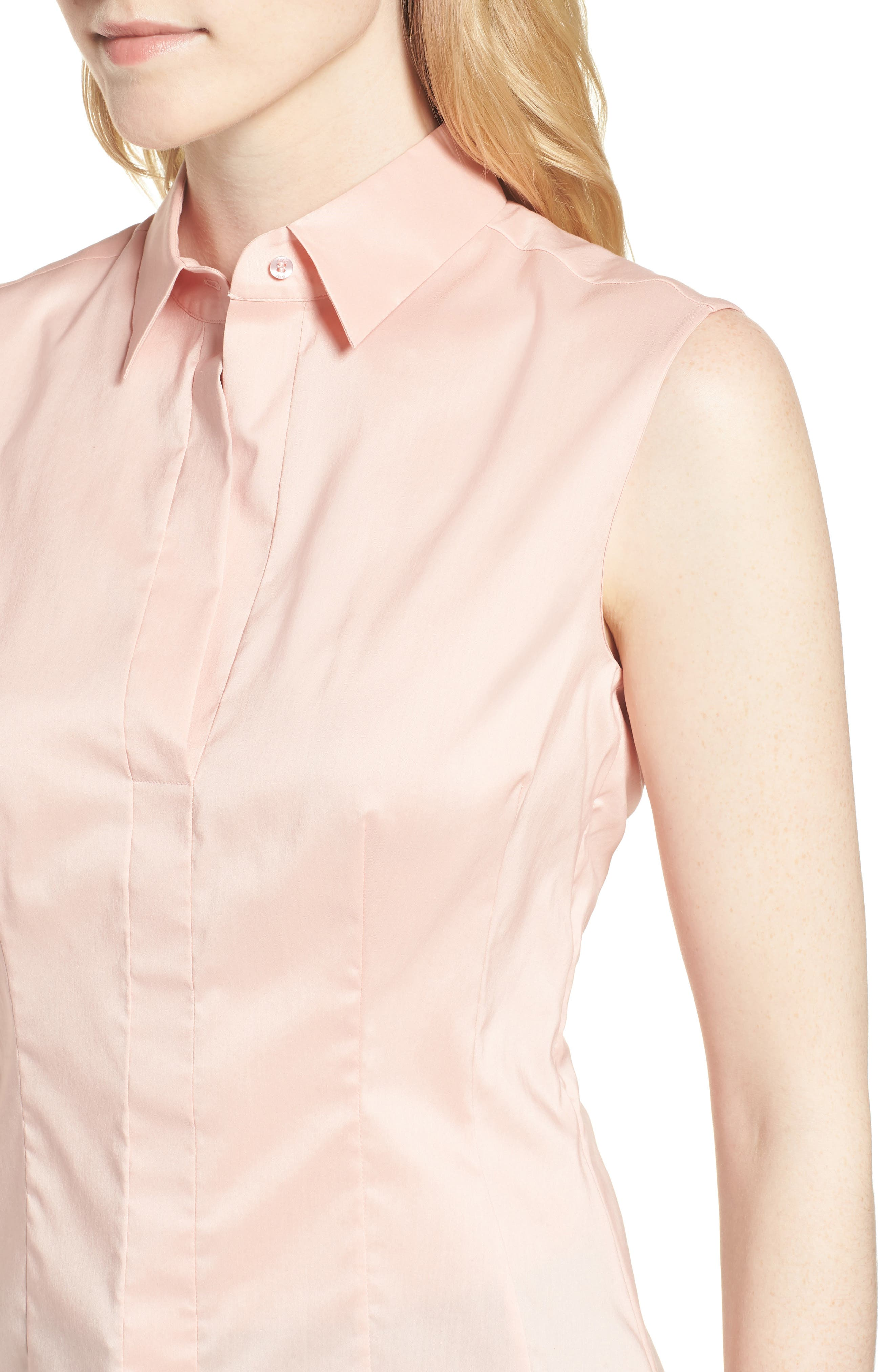 Bashiva Stretch Poplin Blouse,                             Alternate thumbnail 4, color,                             Blush
