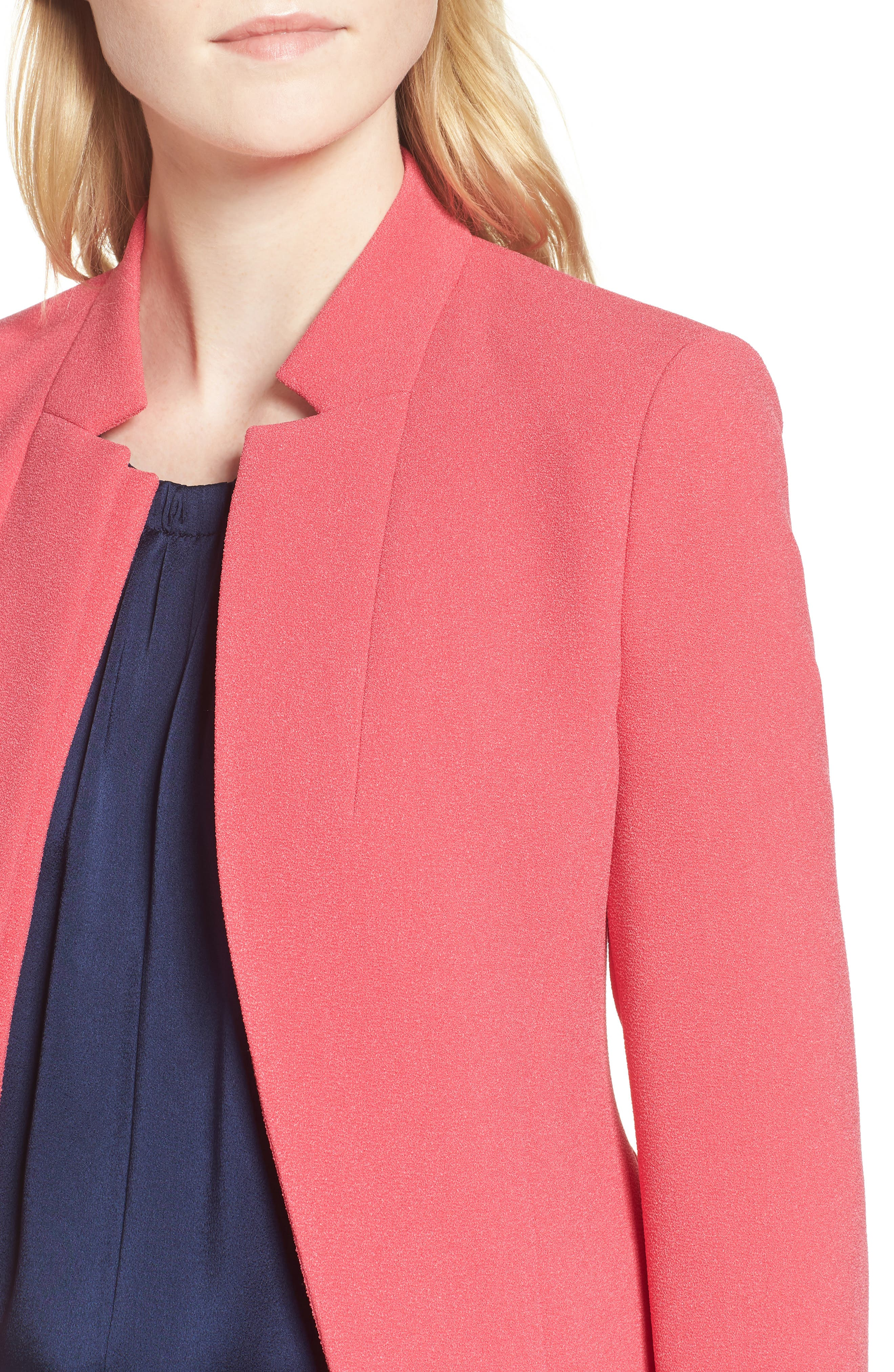 Jisala Compact Crepe Crop Jacket,                             Alternate thumbnail 4, color,                             Lychee Pink
