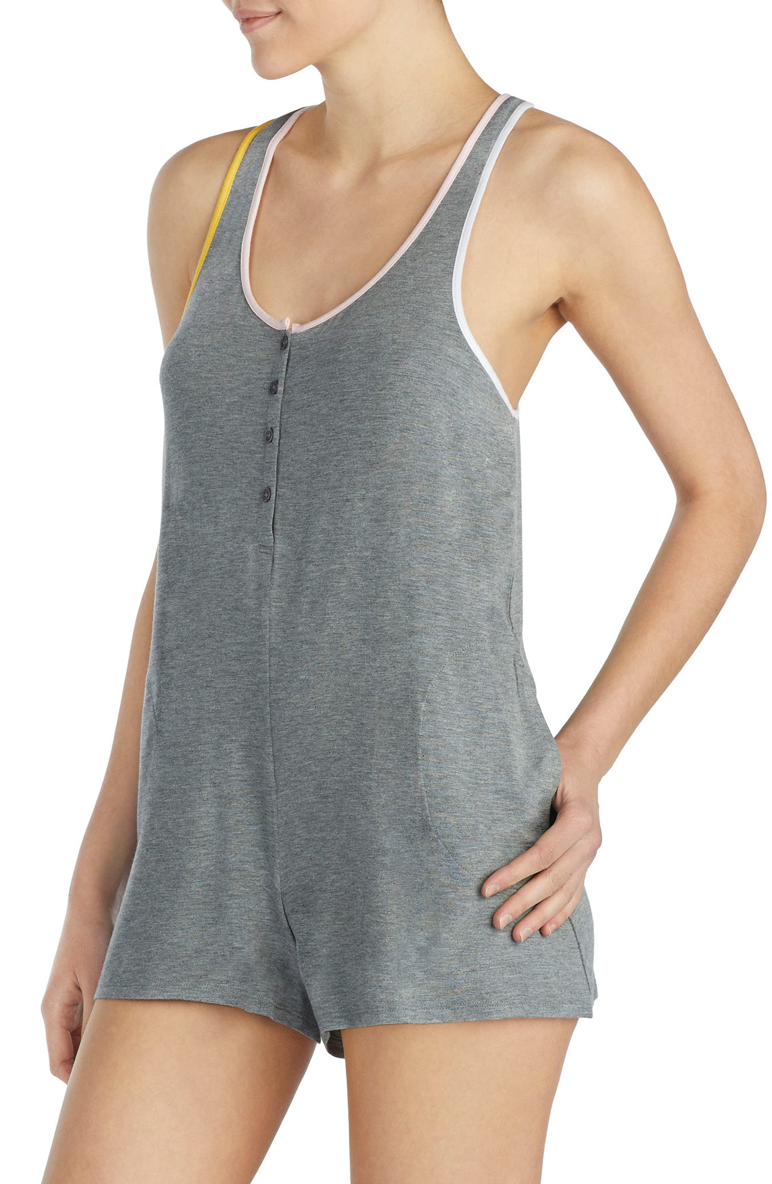 Modal Jersey Romper,                             Alternate thumbnail 3, color,                             Dark Heather Grey