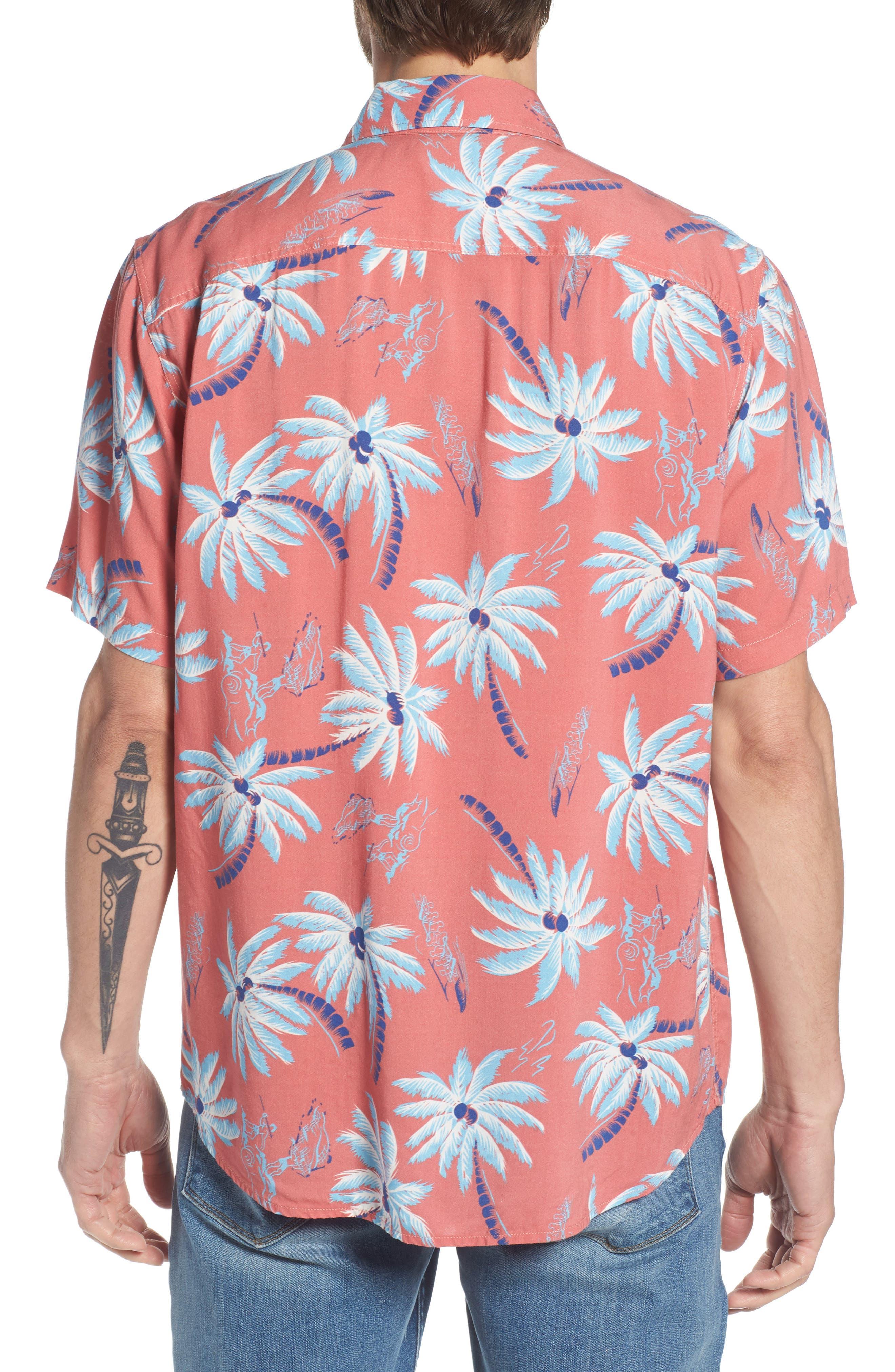 Hawaiian Print Sport Shirt,                             Alternate thumbnail 3, color,                             Red Palm Hawaiian