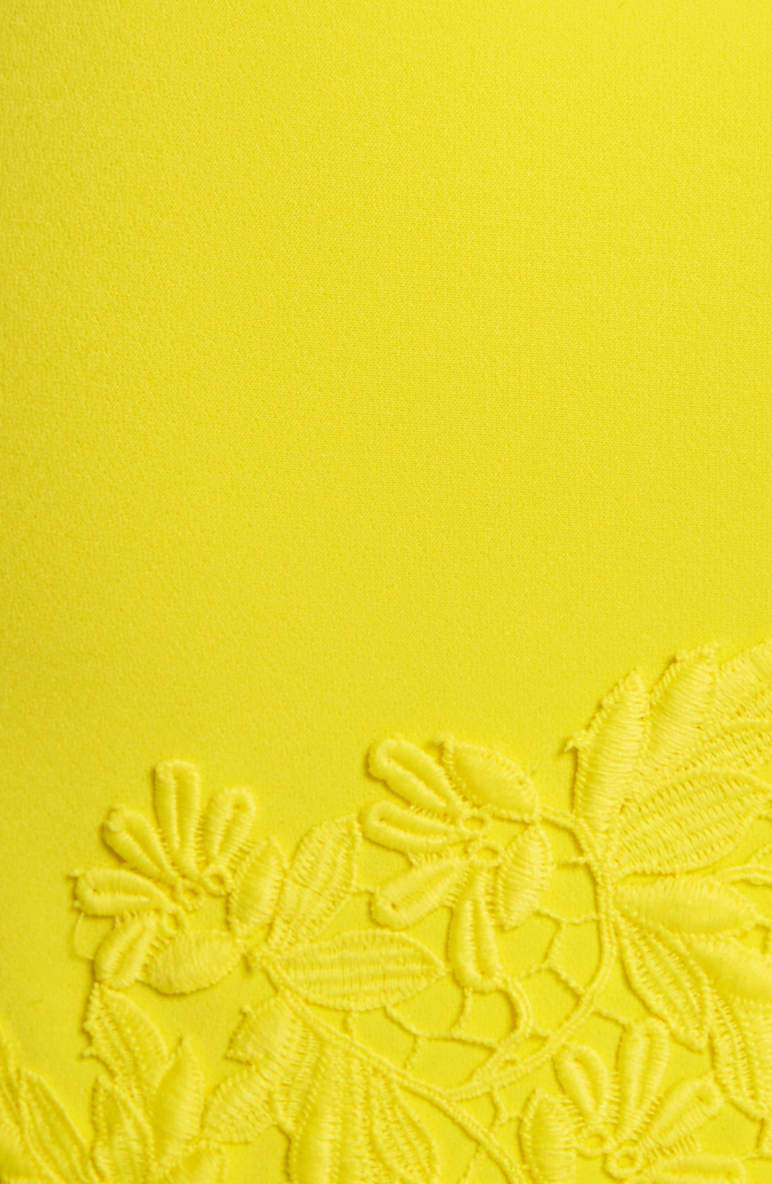 Margy Lace Overlay Body-Con Dress,                             Alternate thumbnail 5, color,                             Lemon