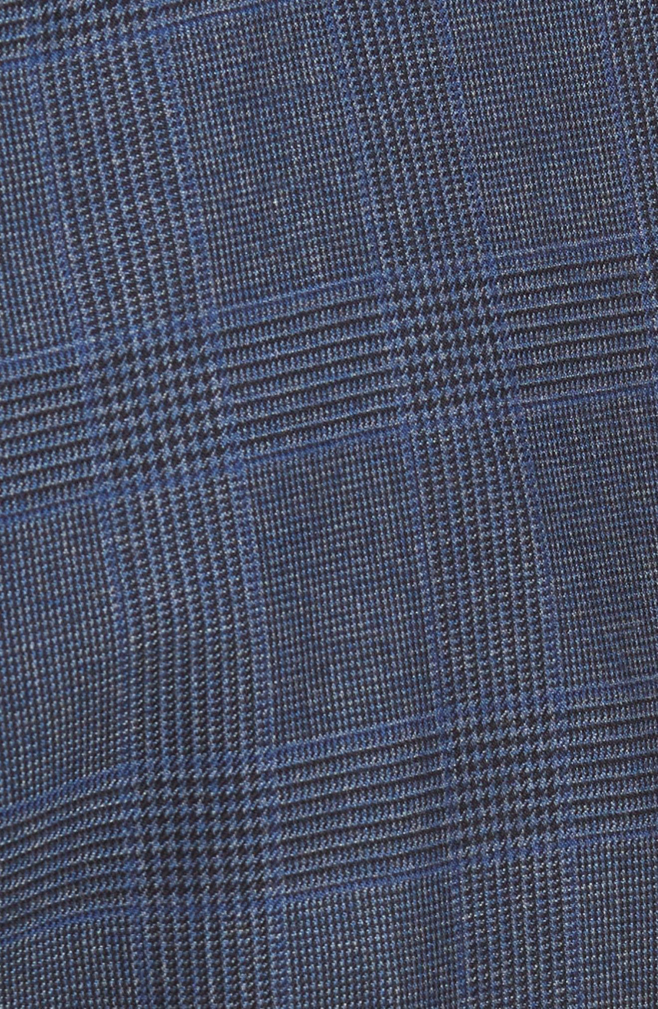 Ludlow Trim Fit Glen Plaid Wool Pants,                             Alternate thumbnail 5, color,                             Baltic Blue
