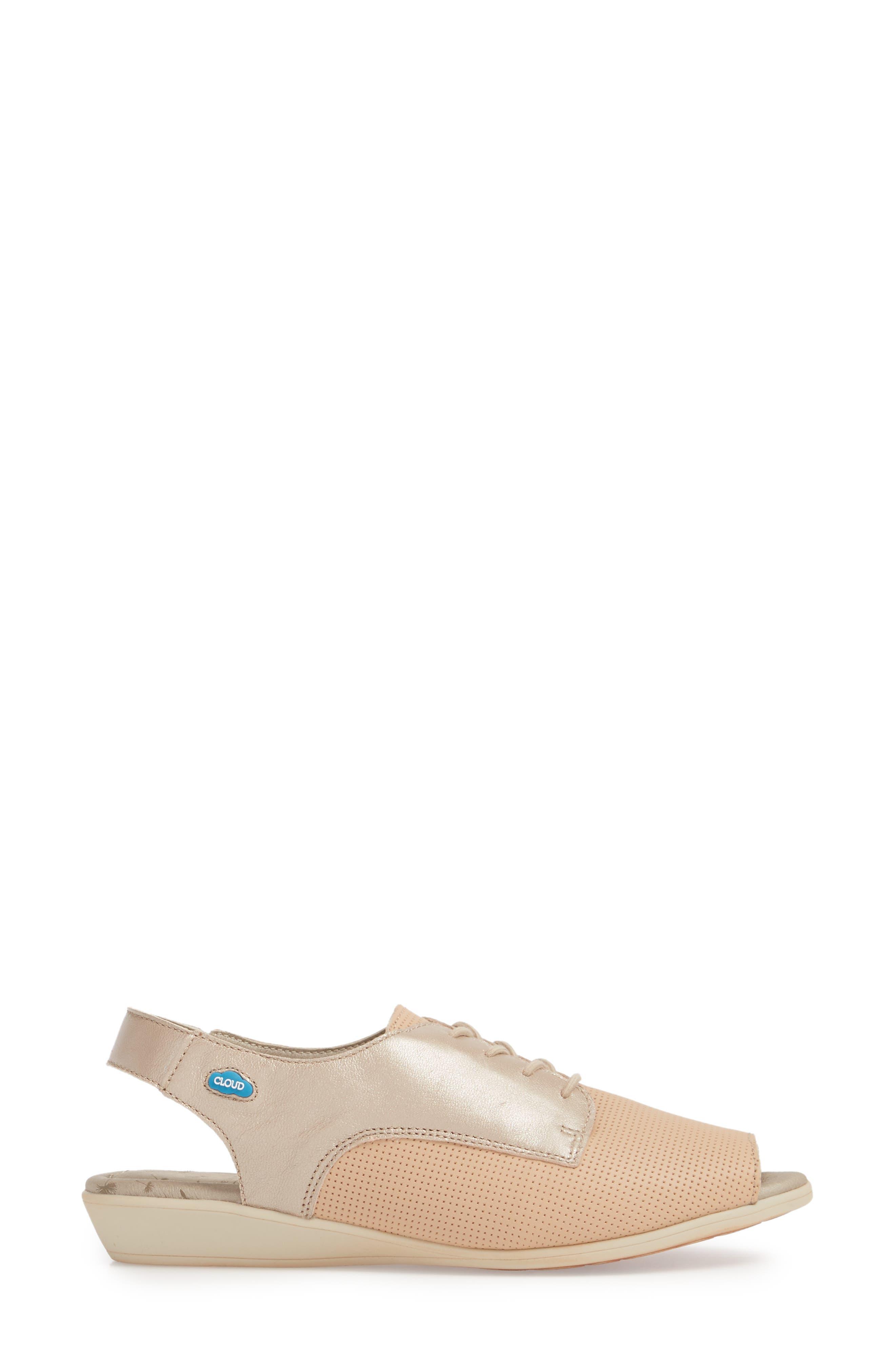 Cleone Slingback Sandal,                             Alternate thumbnail 3, color,                             Puima Sabbia Leather