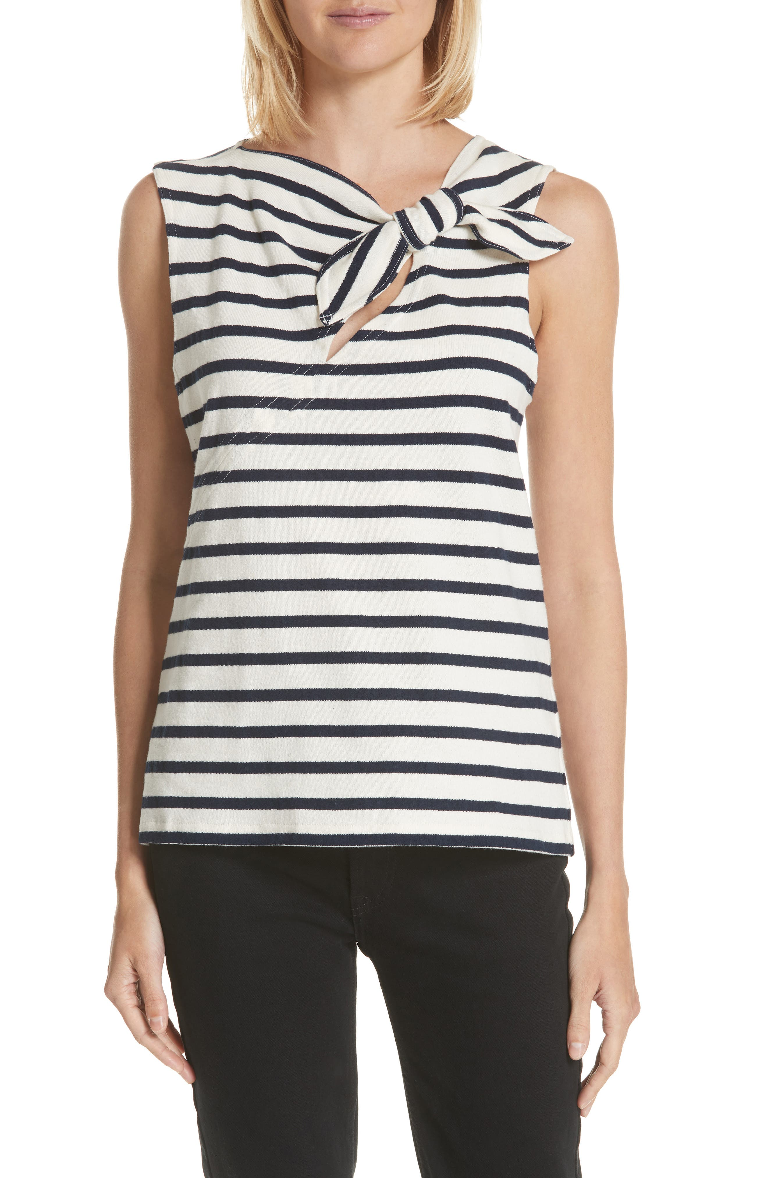Derek Lam 10 Crosby Tie Back Stripe Top