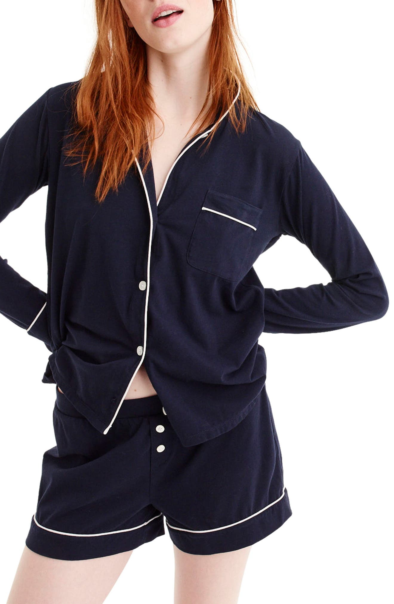 Dreamy Short Cotton Pajamas,                         Main,                         color, Navy