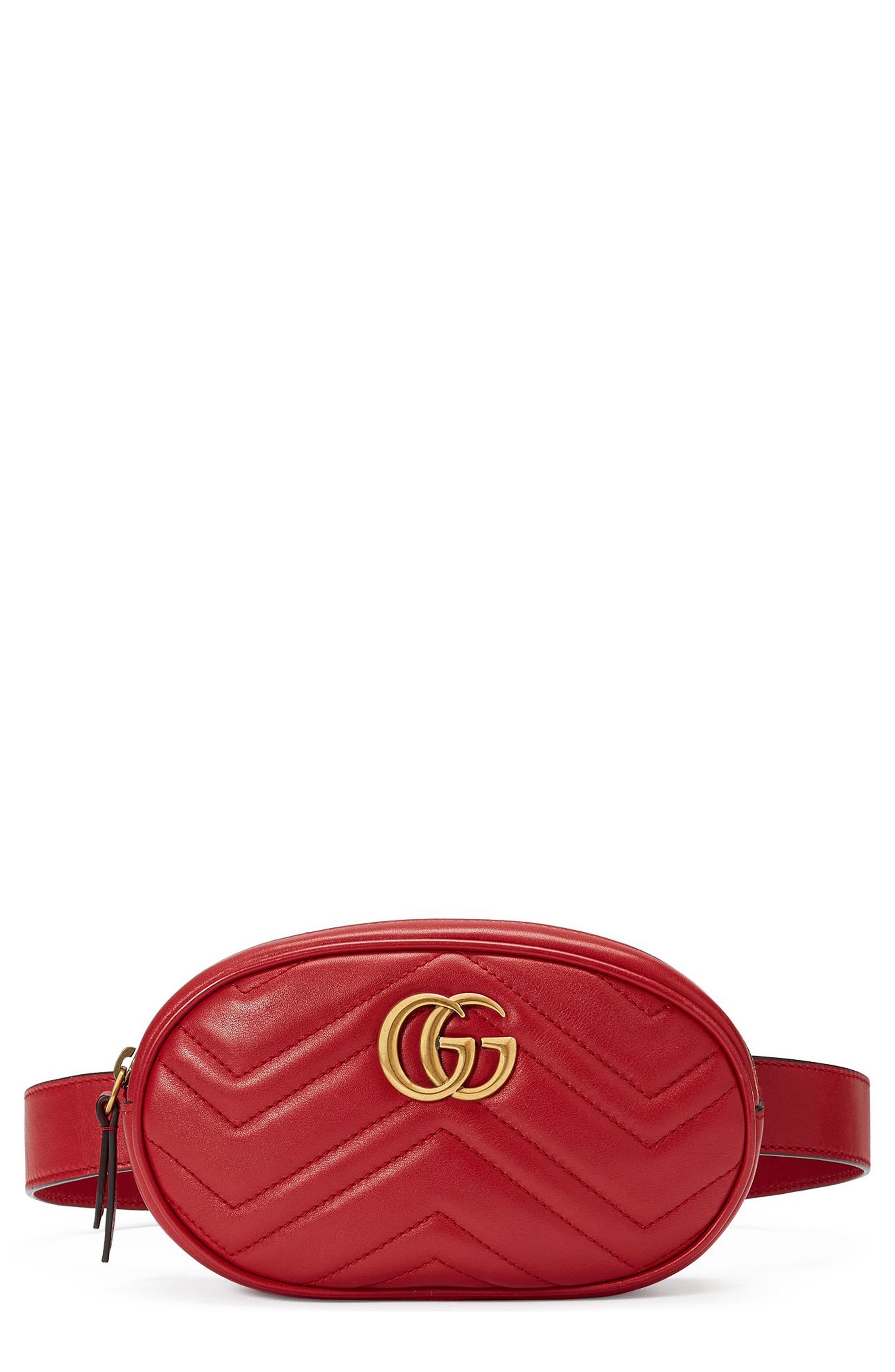 GG Marmont 2.0 Matelassé Leather Belt Bag,                         Main,                         color, Hibiscus Red