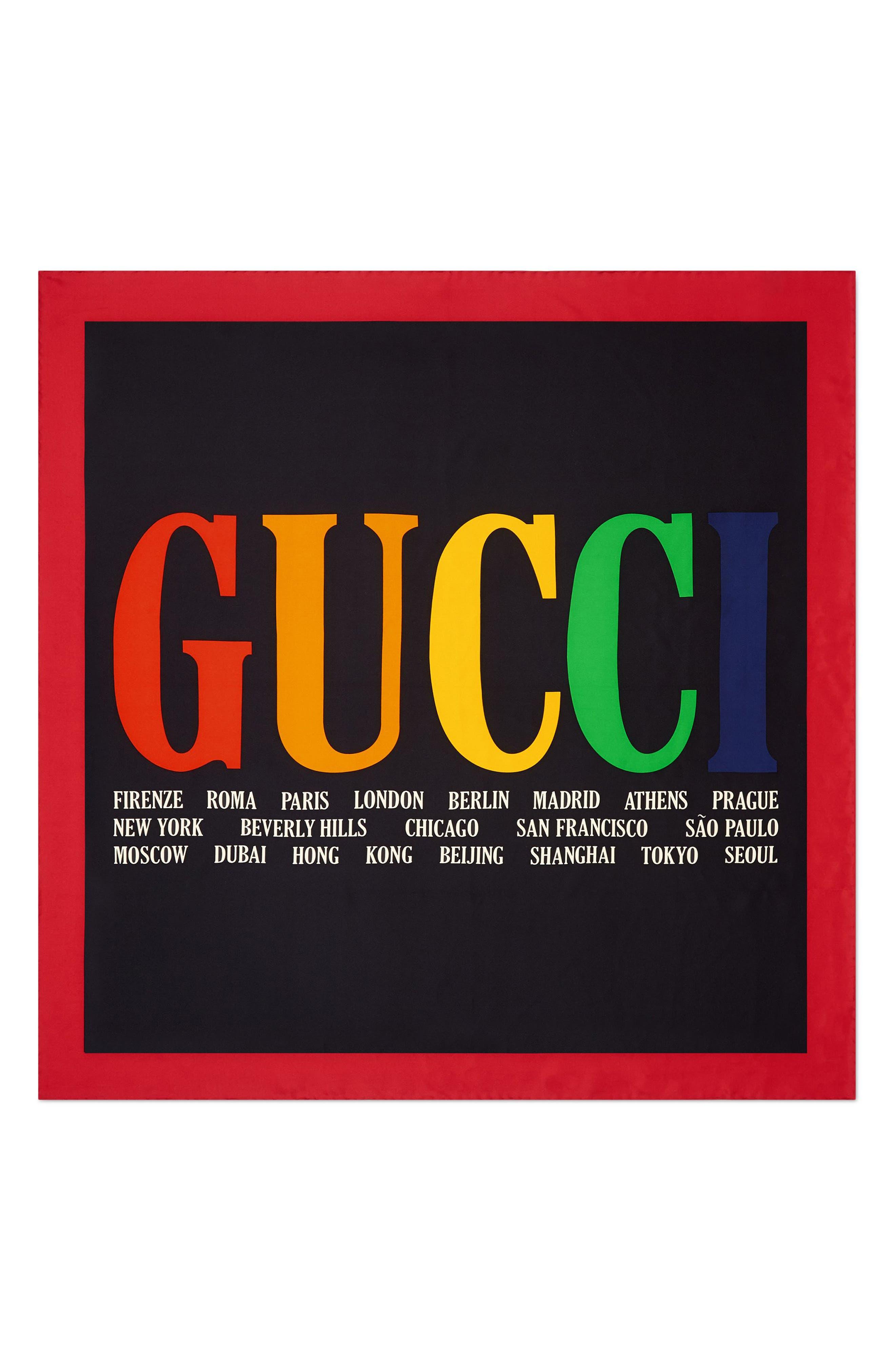 Gucci Logo Silk Twill Scarf