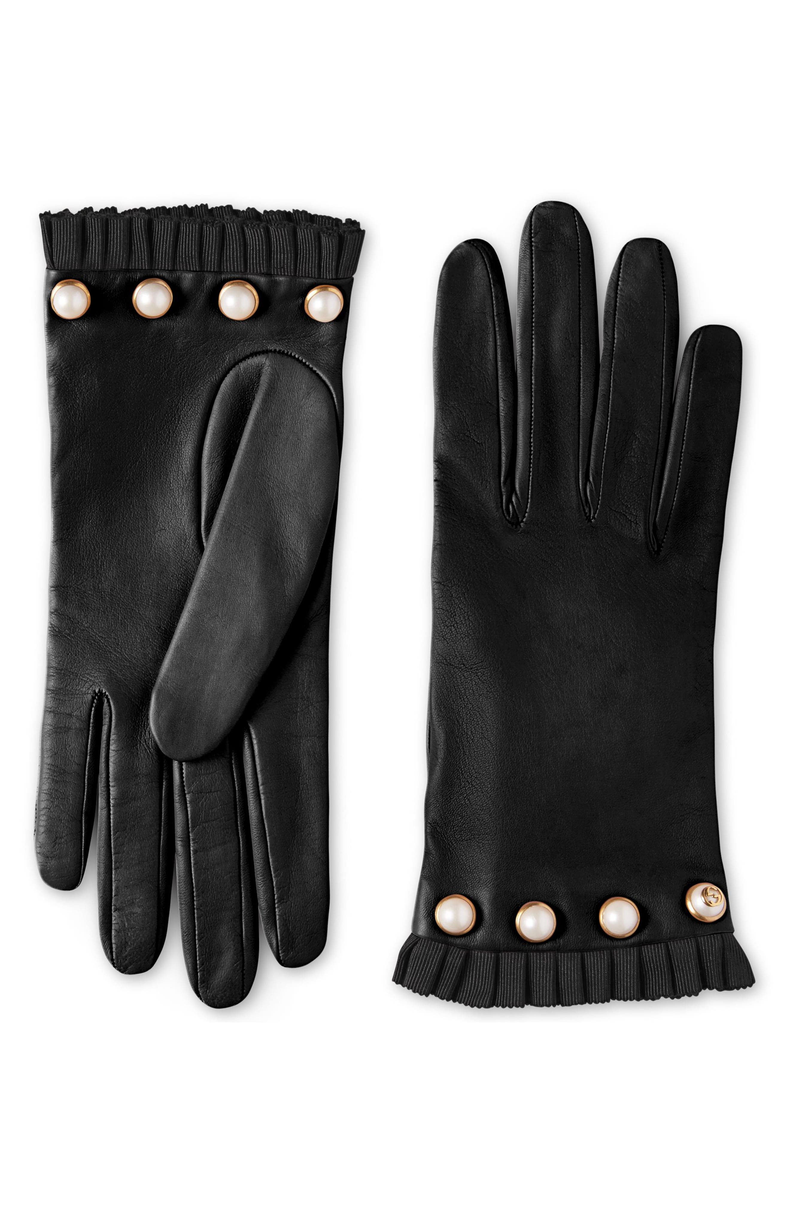 Gucci Nappa Leather Gloves with Grosgrain & Imitation Pearl Trim