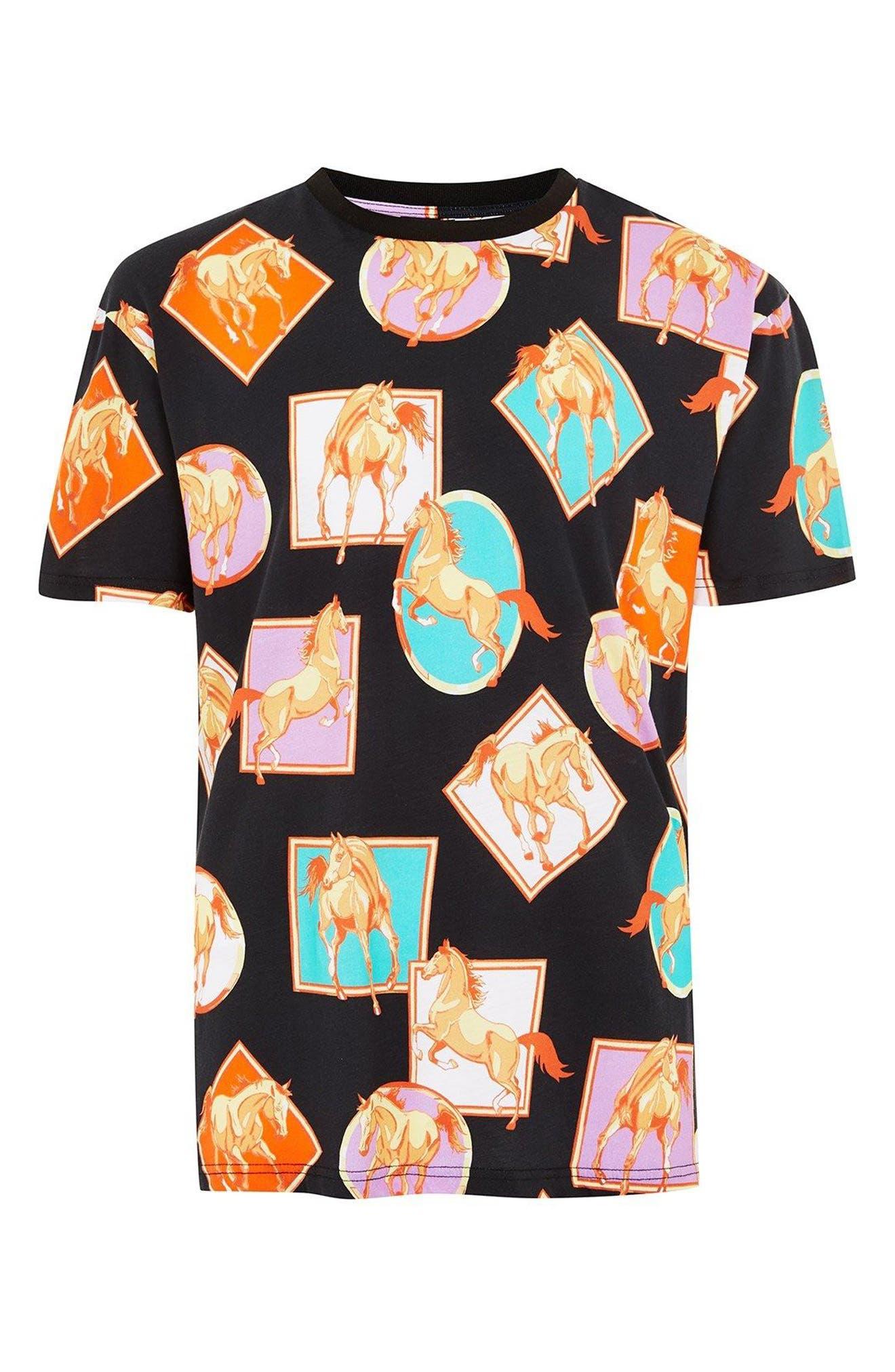 Oversize Horse Print T-Shirt,                             Alternate thumbnail 4, color,                             Black Multi