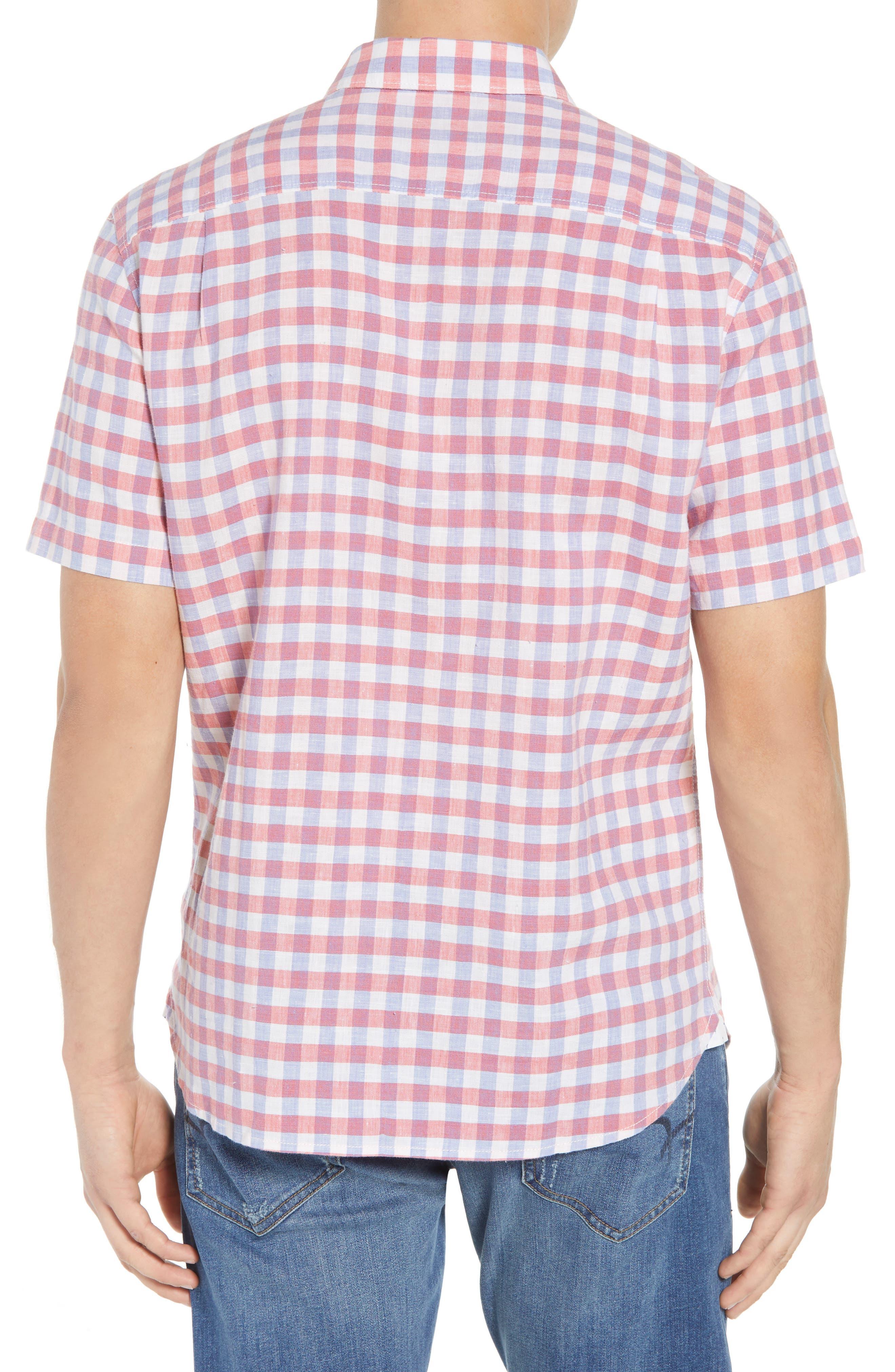 Diego Fronds Check Sport Shirt,                             Alternate thumbnail 3, color,                             Deep Morel