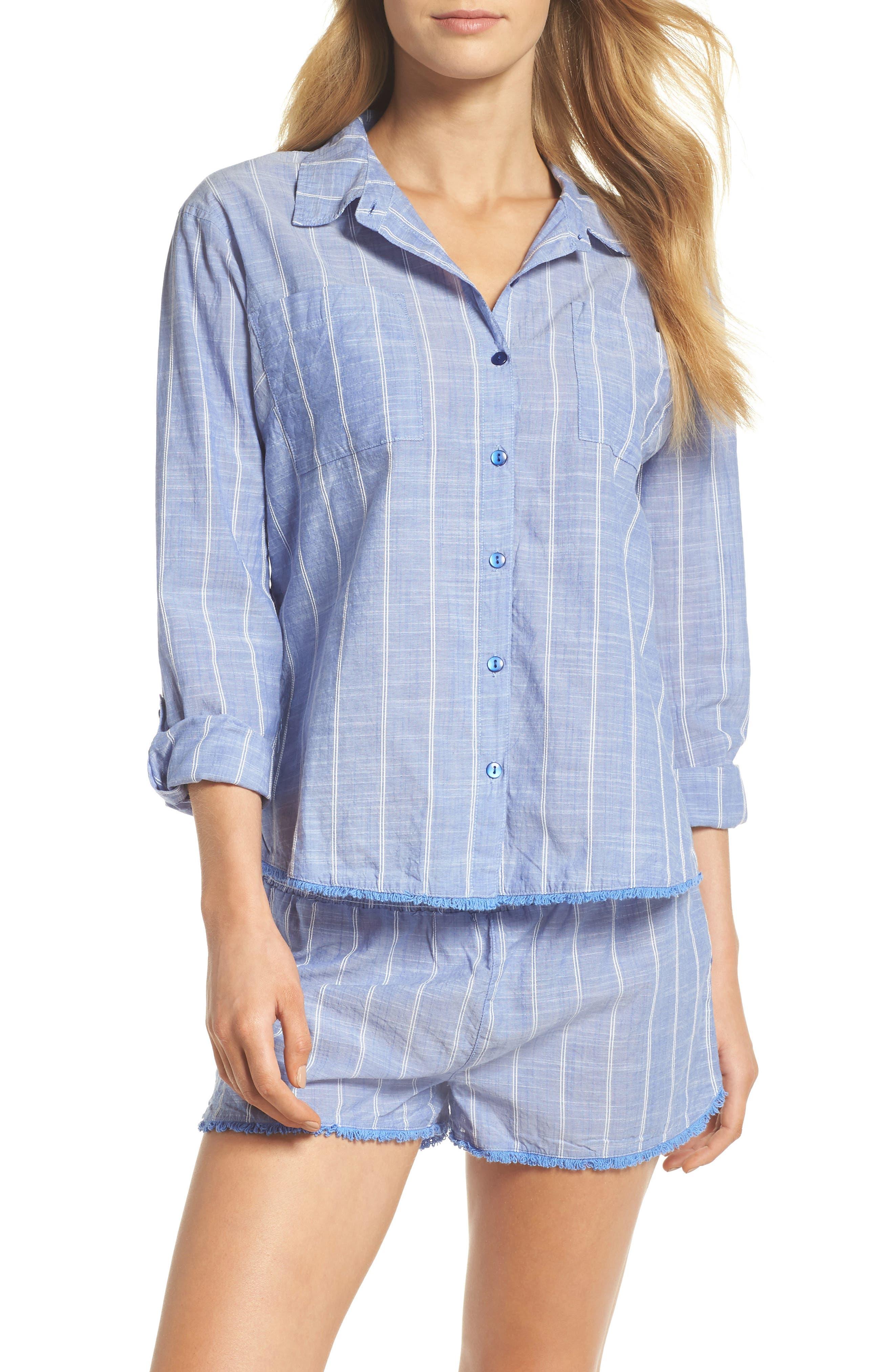 Stripe Short Pajamas,                         Main,                         color, Blue