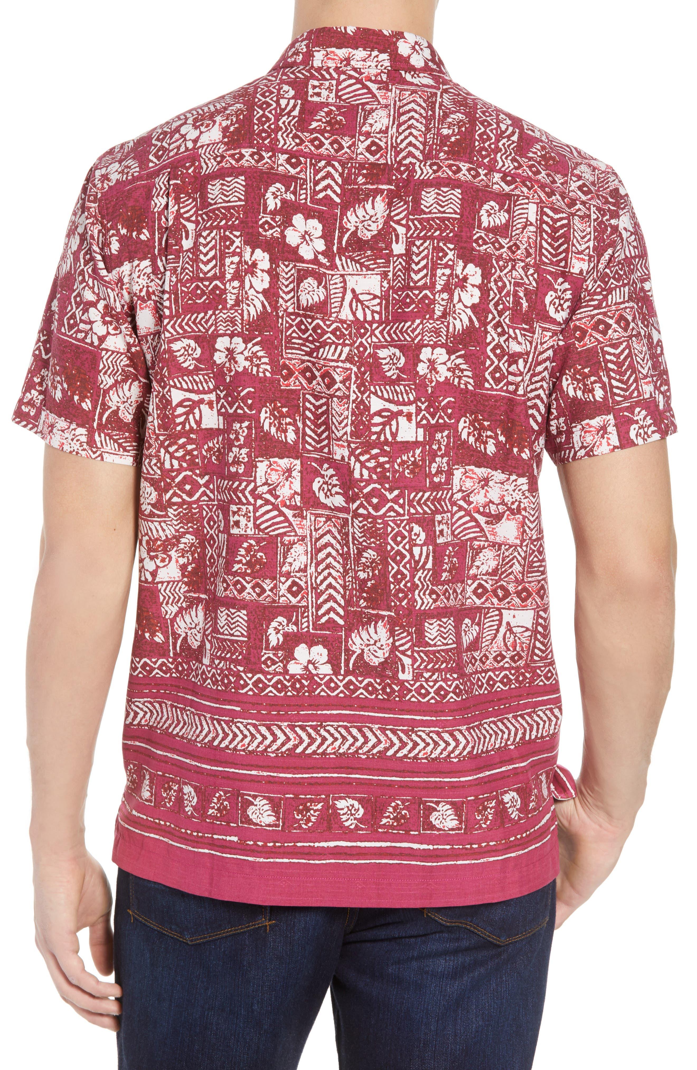 Veracruz Border Tiles Silk Blend Camp Shirt,                             Alternate thumbnail 3, color,                             Beet Red
