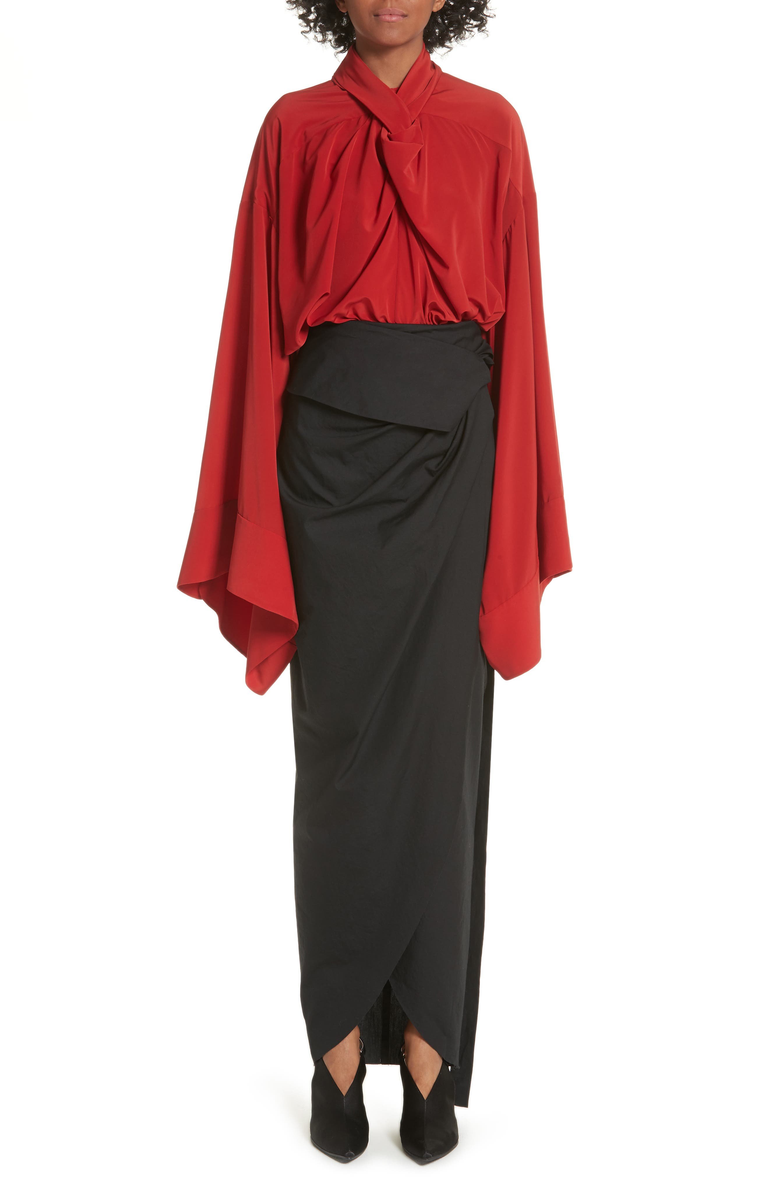 High Waist Wrap Skirt,                             Alternate thumbnail 8, color,                             Black