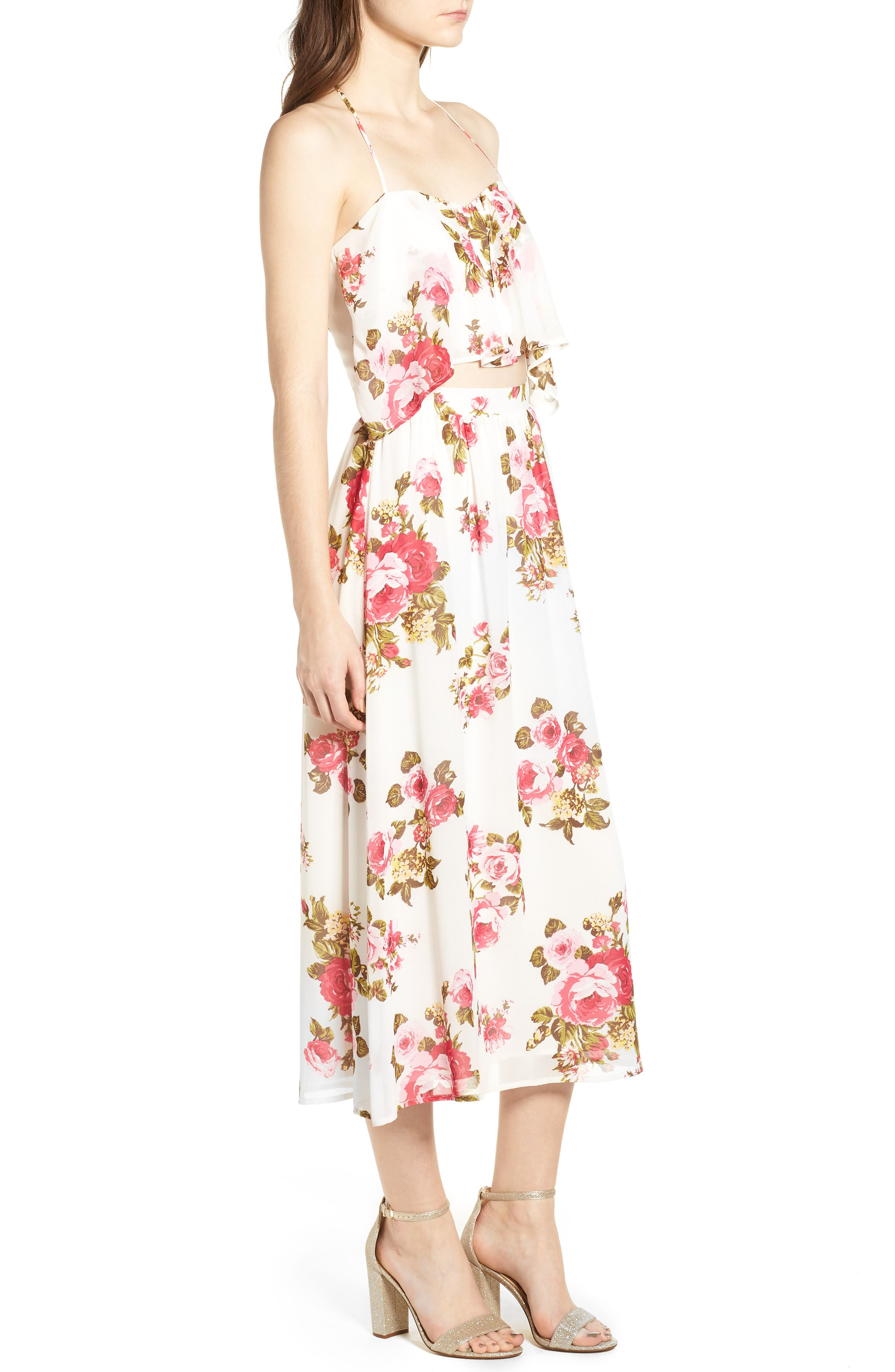 Floral Print Halter Midi Dress,                             Alternate thumbnail 3, color,                             Ivory Floral