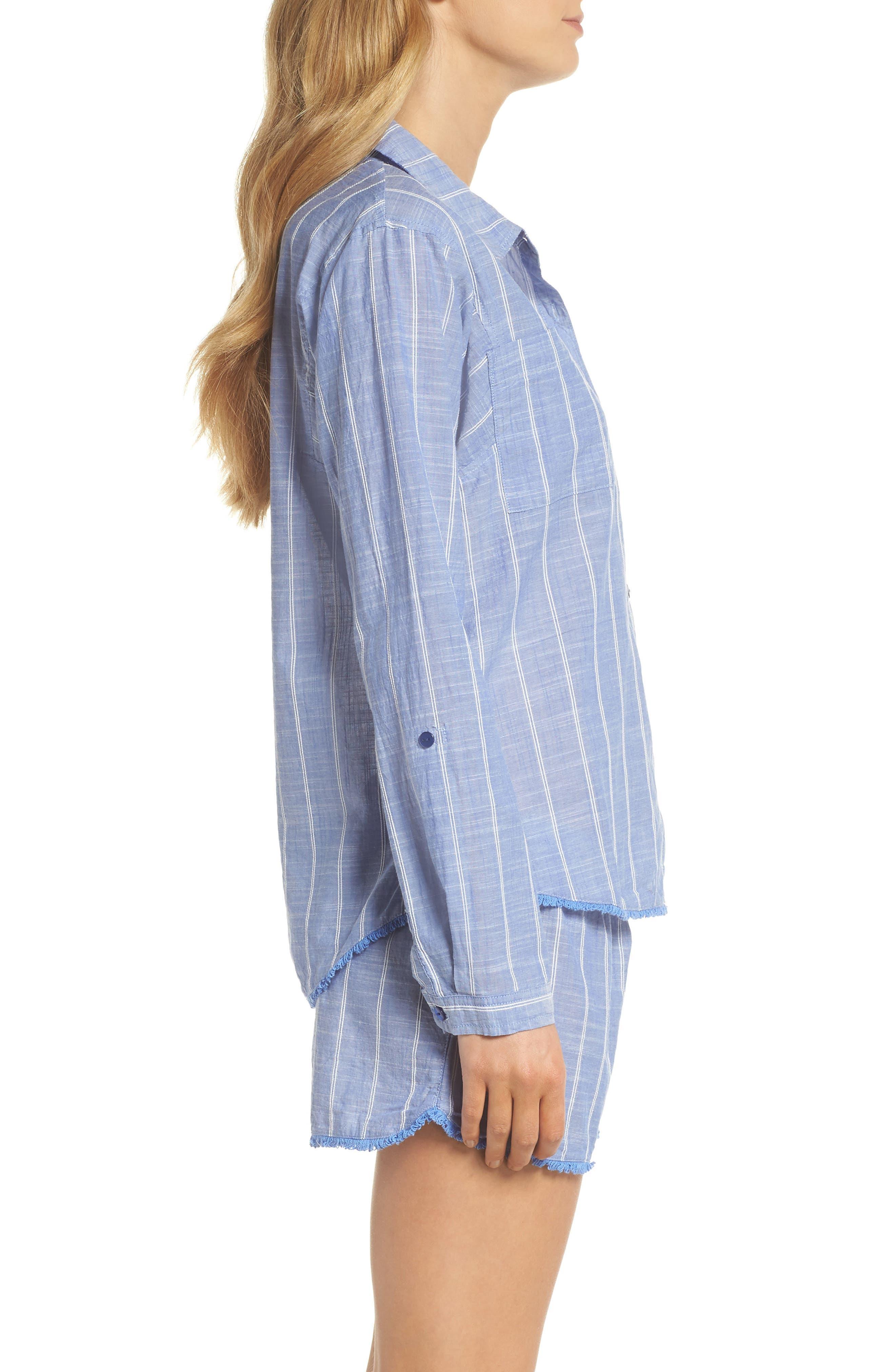 Stripe Short Pajamas,                             Alternate thumbnail 3, color,                             Blue