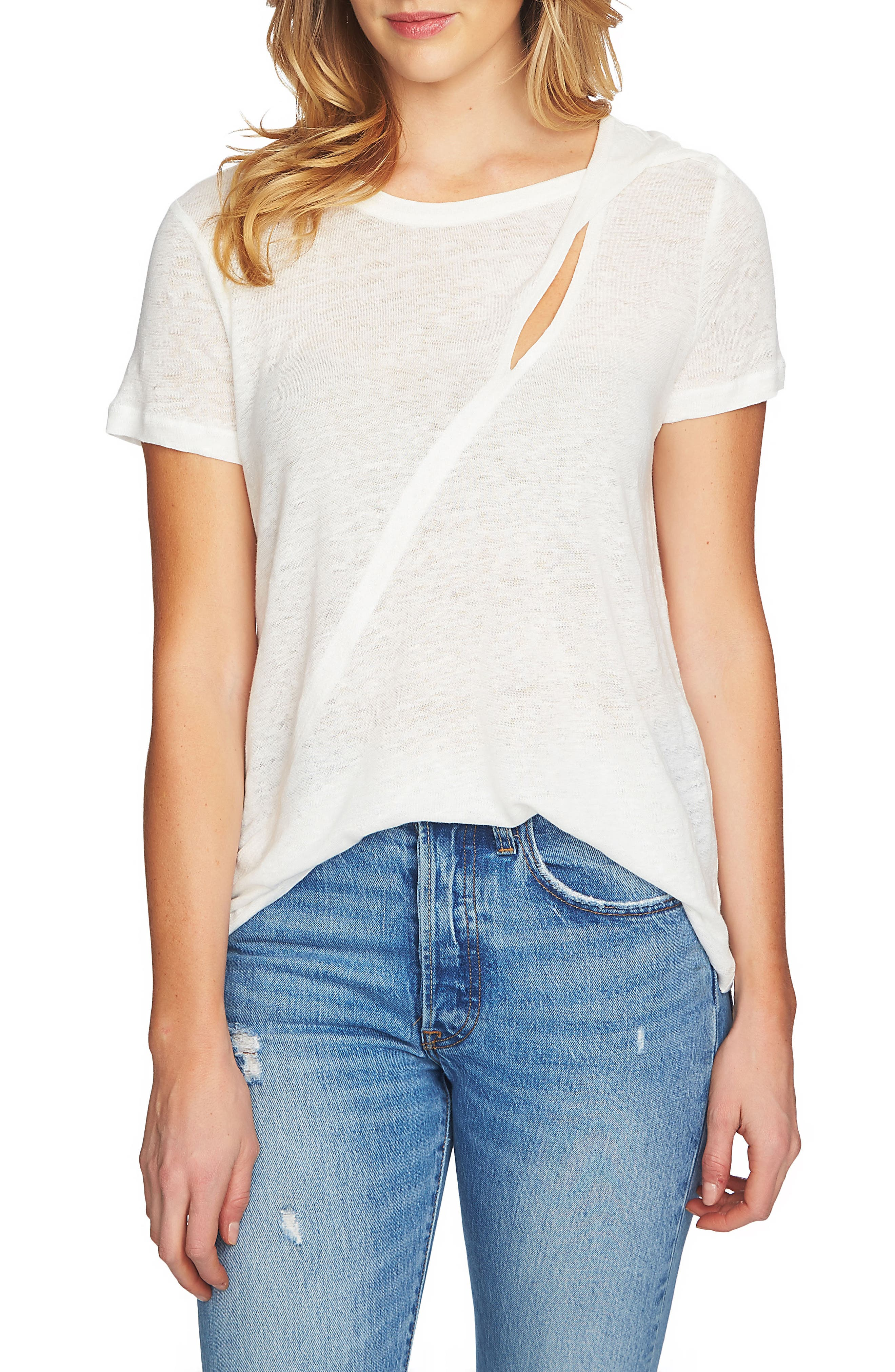 Cutout Linen Tee,                         Main,                         color, New Ivory