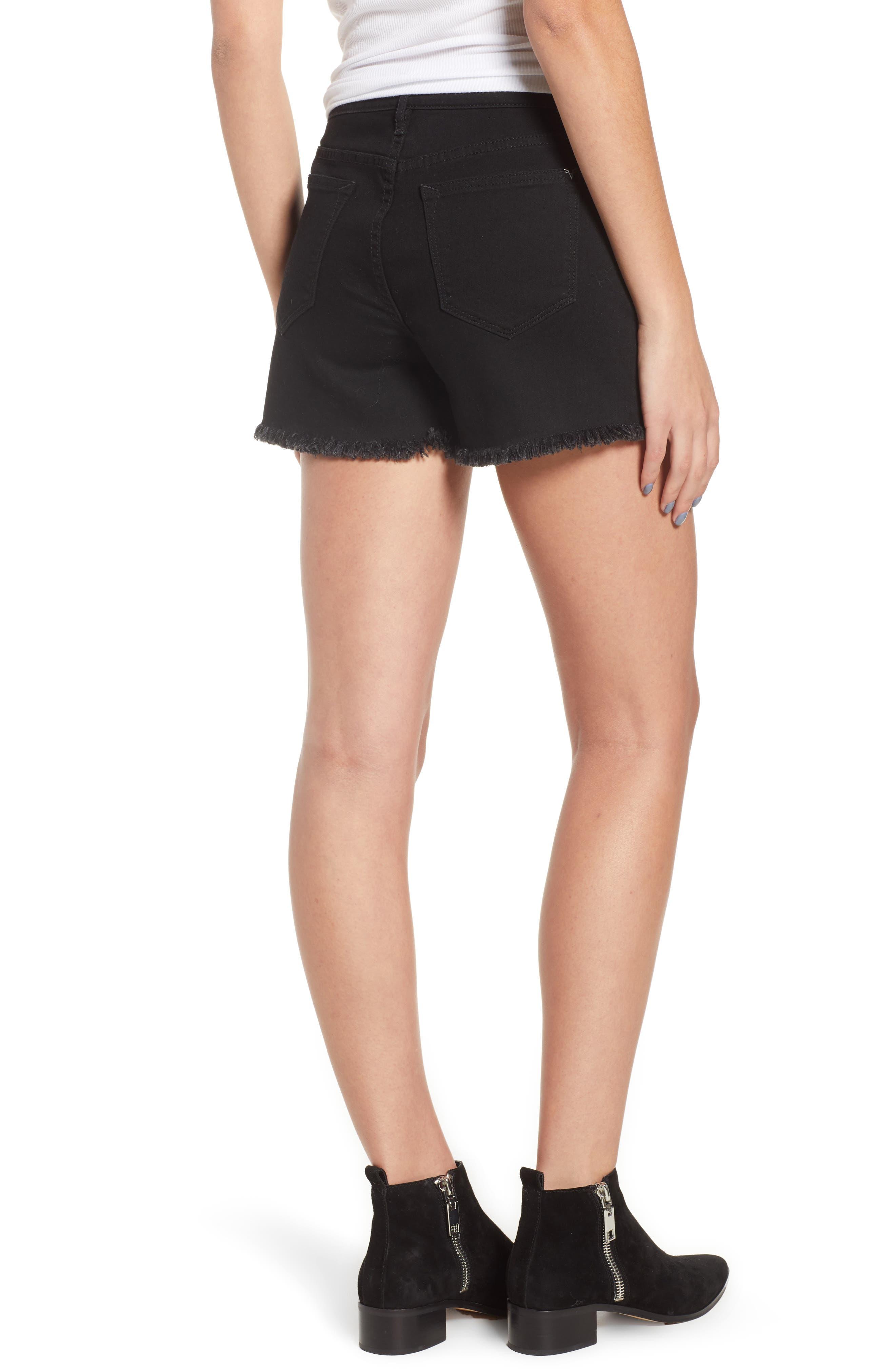 Studded Step Hem Denim Cutoff Shorts,                             Alternate thumbnail 2, color,                             Black