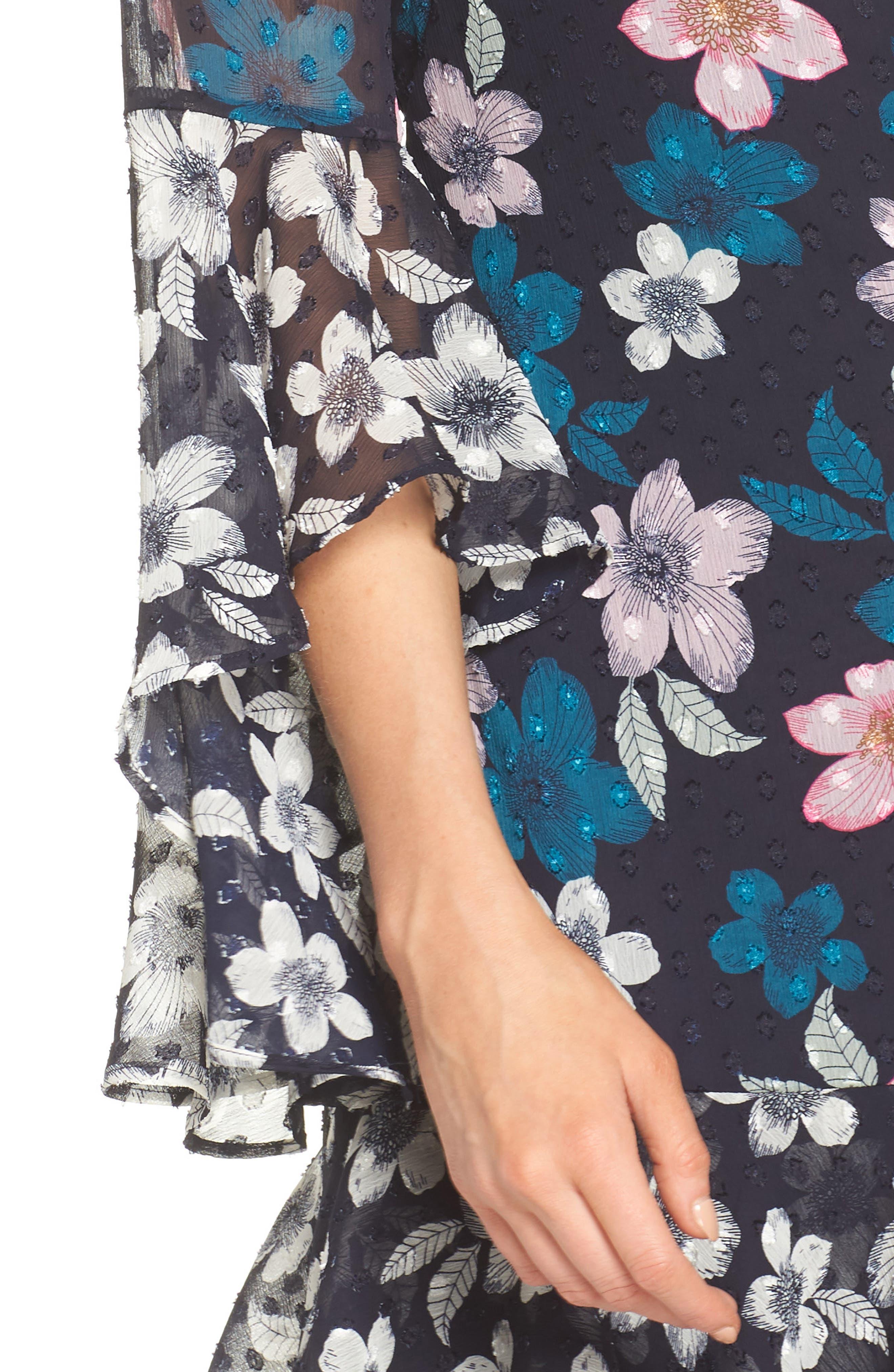 Flounce Bell Sleeve Floral Fil Coupé Chiffon Shift Dress,                             Alternate thumbnail 4, color,                             Navy