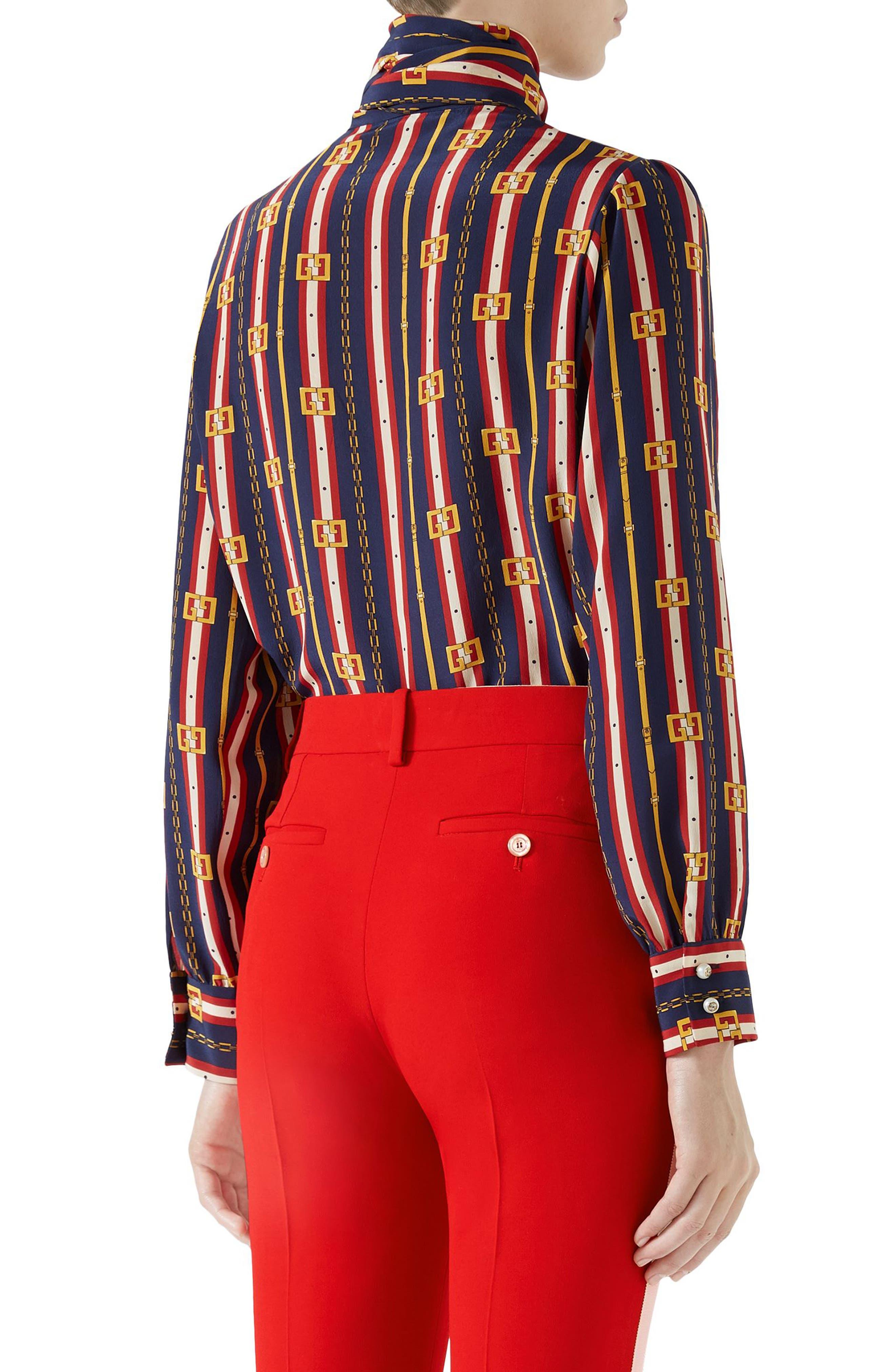 Chain Belt Print Silk Bow Neck Blouse,                             Alternate thumbnail 2, color,                             Blue/ Red Print