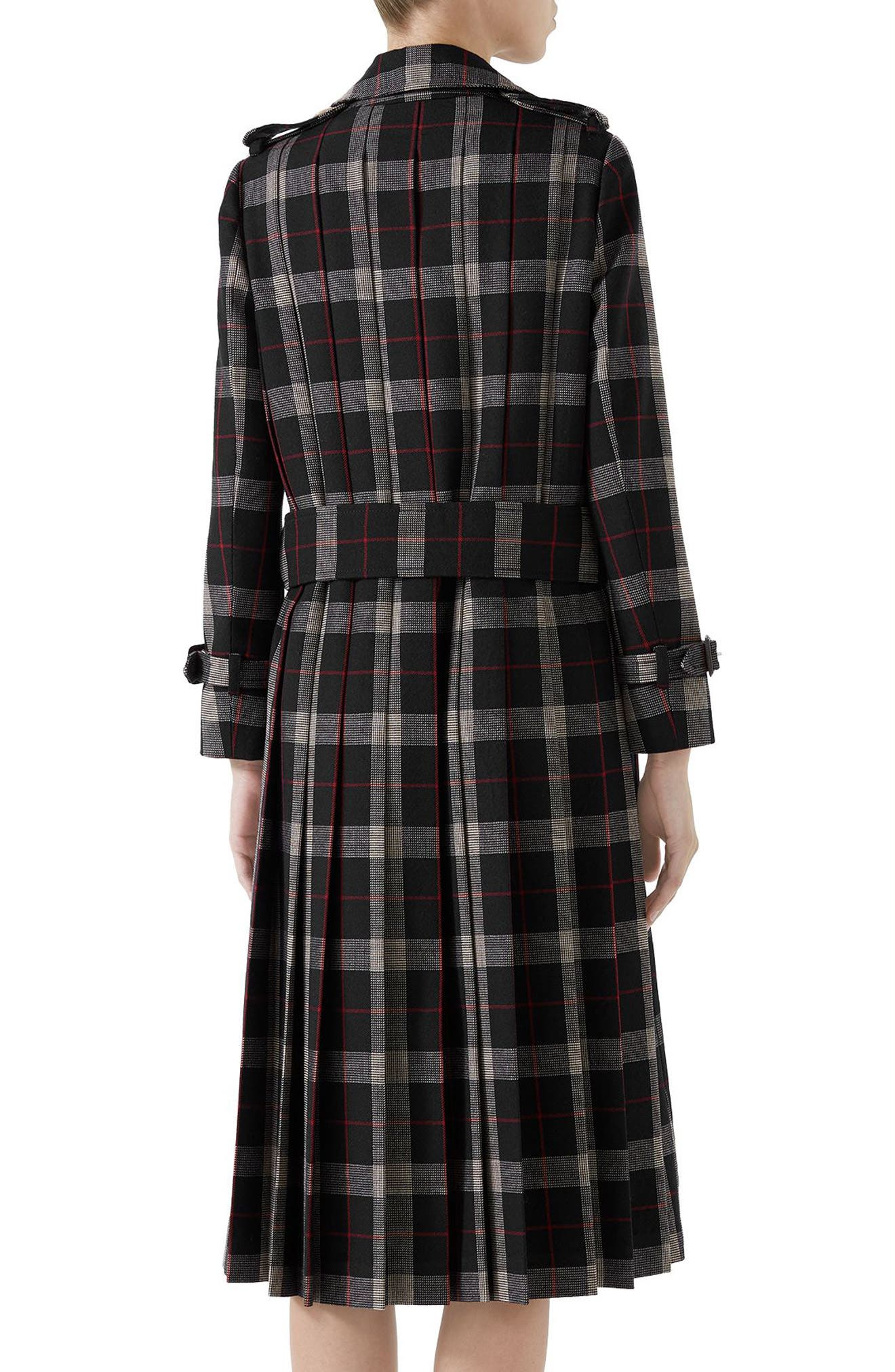 Oversize Check Pleated Back Coat,                             Alternate thumbnail 2, color,                             Ink/ Red/ Rose Bud
