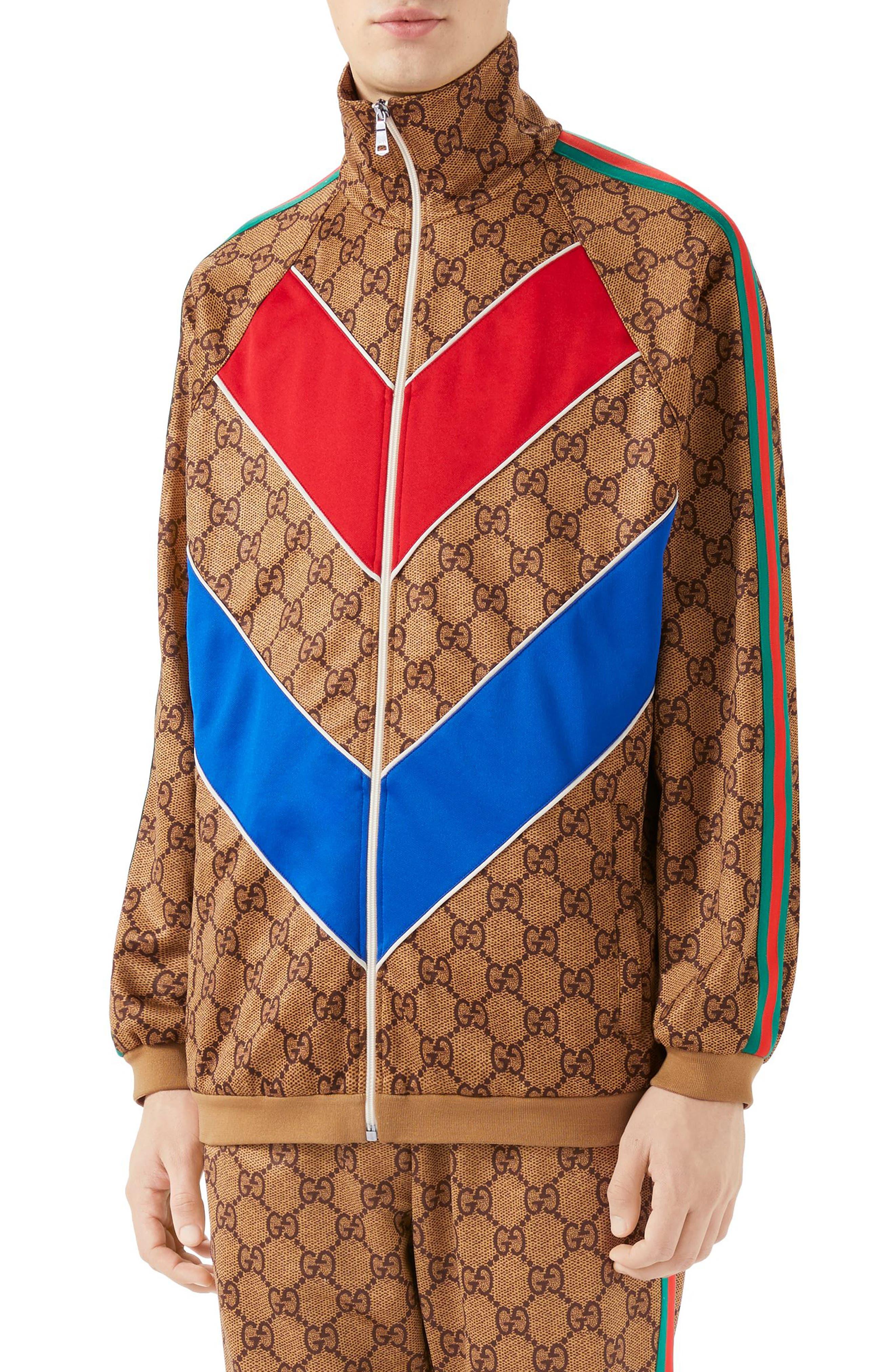 GG Supreme Print Tech Jersey Track Jacket,                             Main thumbnail 1, color,                             Beige