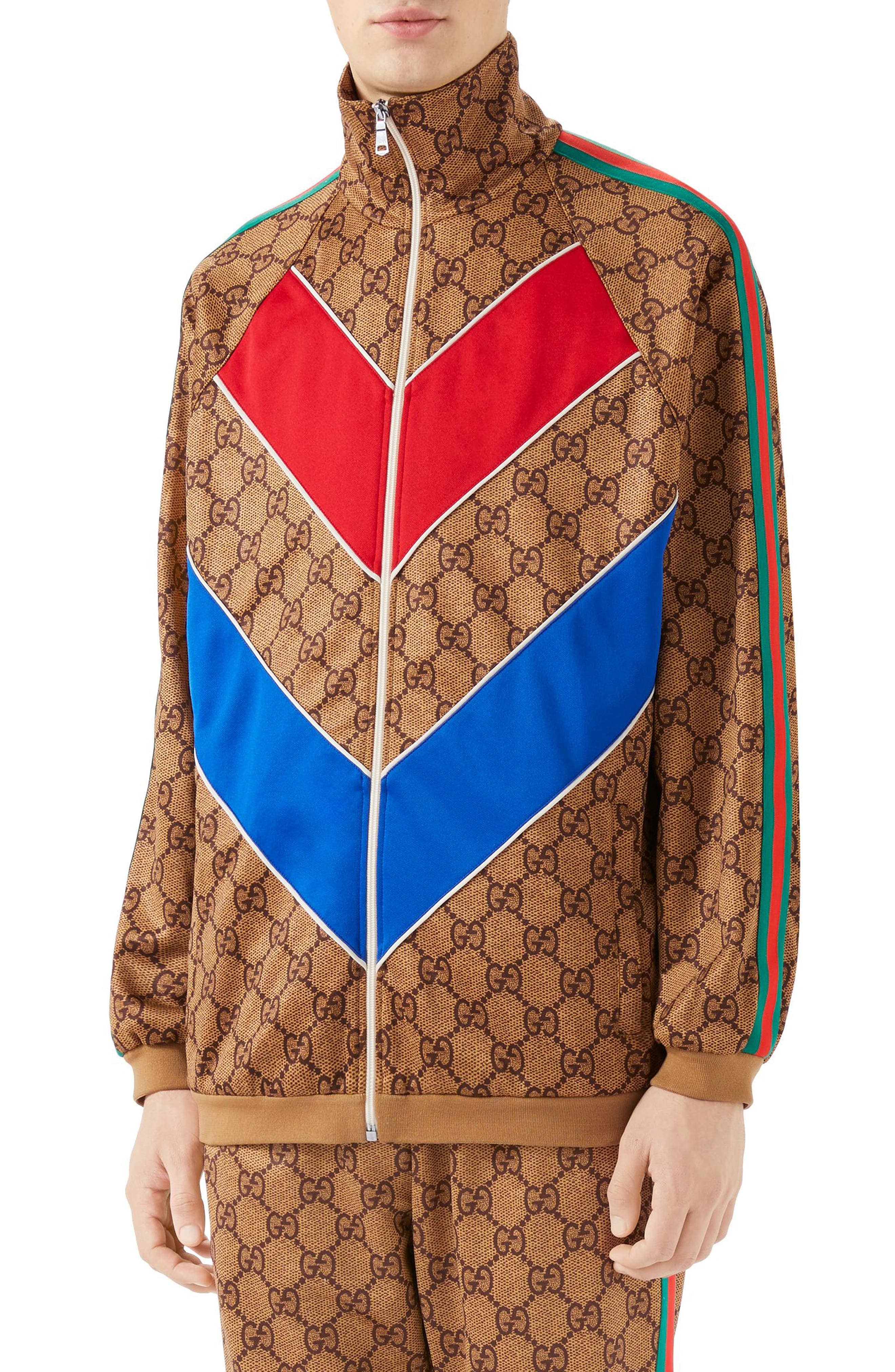 GG Supreme Print Tech Jersey Track Jacket,                         Main,                         color, Beige