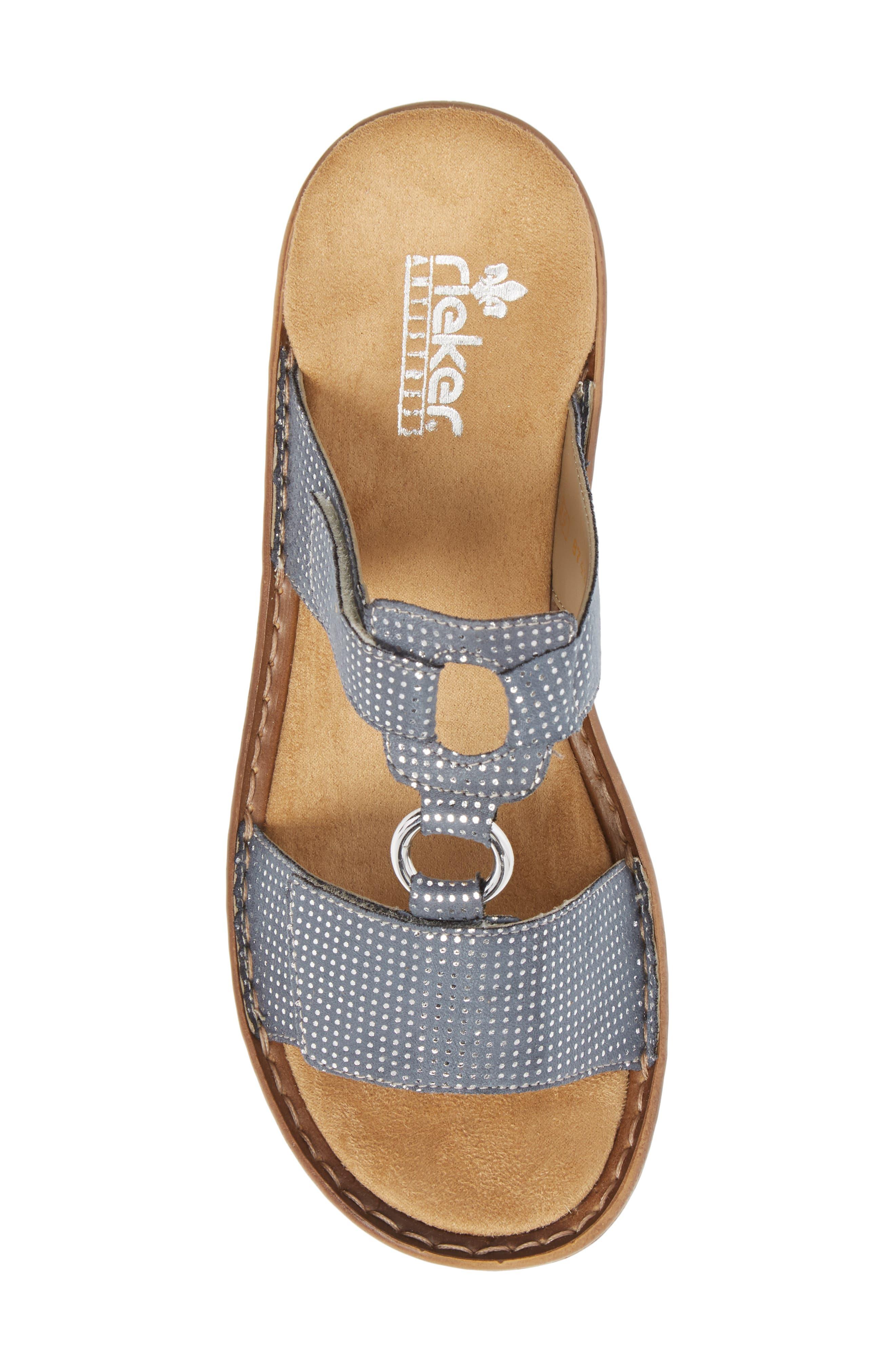Regina P9 Slide Sandal,                             Alternate thumbnail 5, color,                             White Denim Fabric