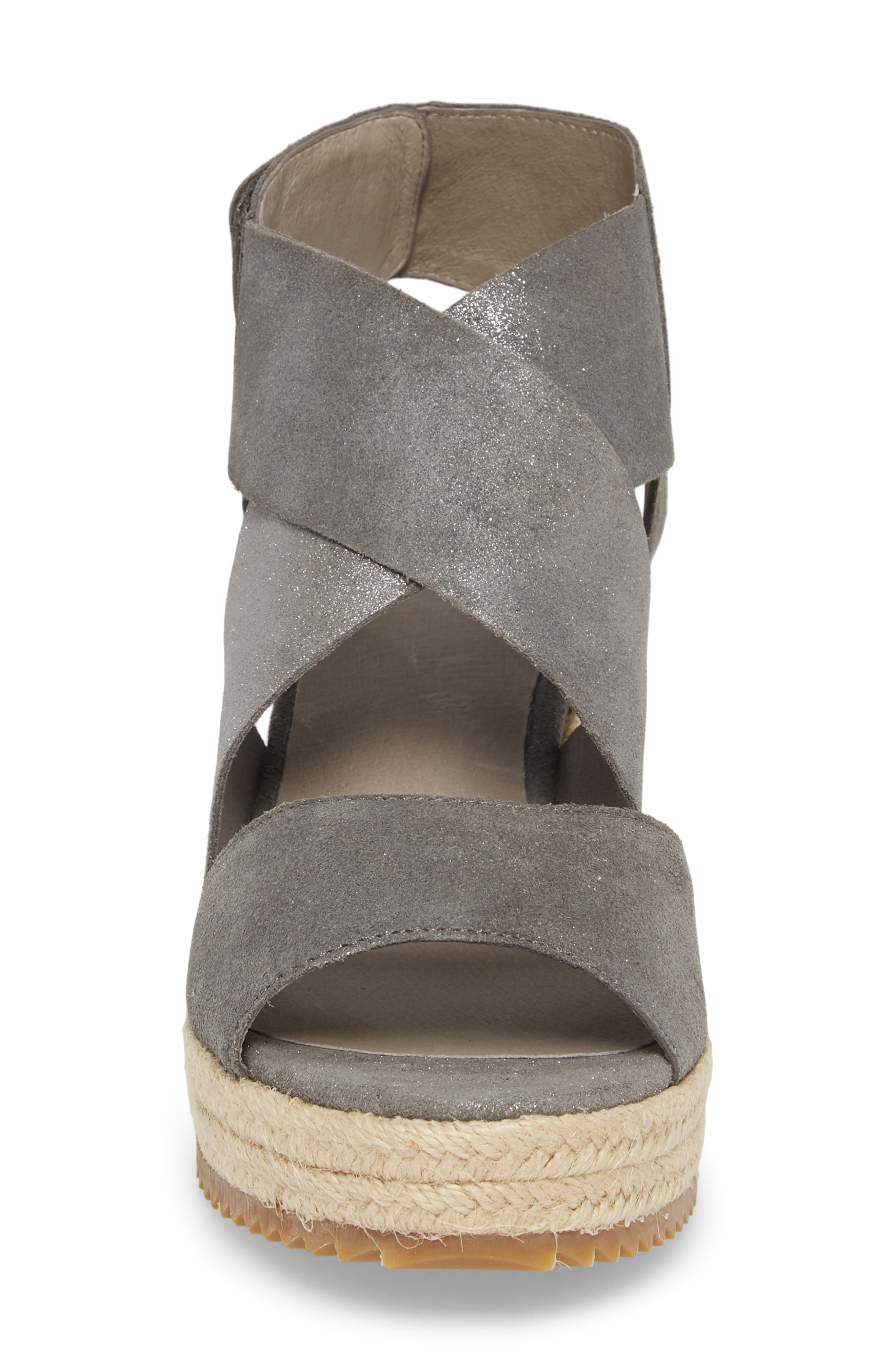 'Willow' Espadrille Wedge Sandal,                             Alternate thumbnail 4, color,                             Pewter Metallic Suede