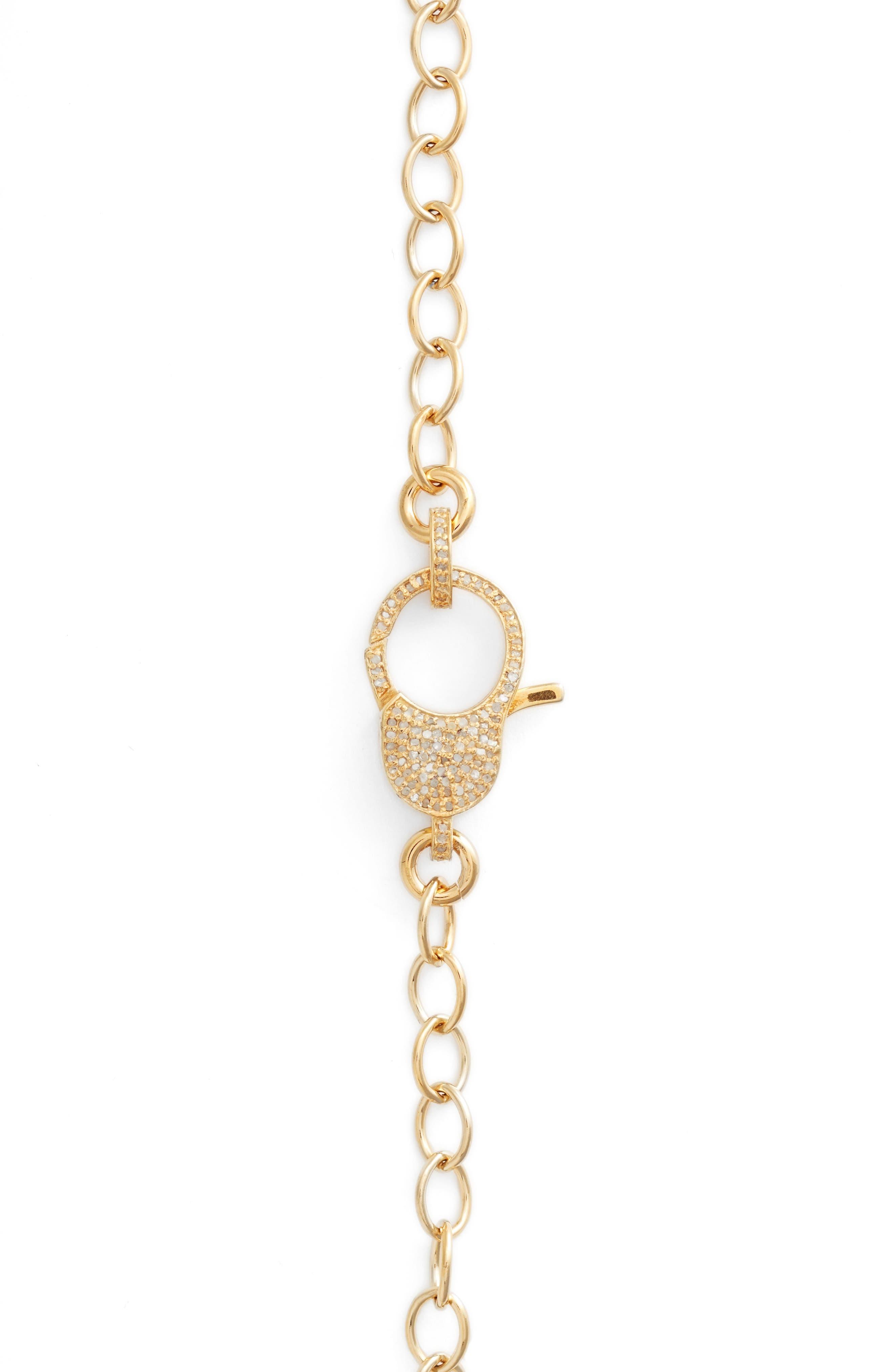 Jane Basch Pavé Lock Chain Necklace,                             Alternate thumbnail 3, color,                             Gold
