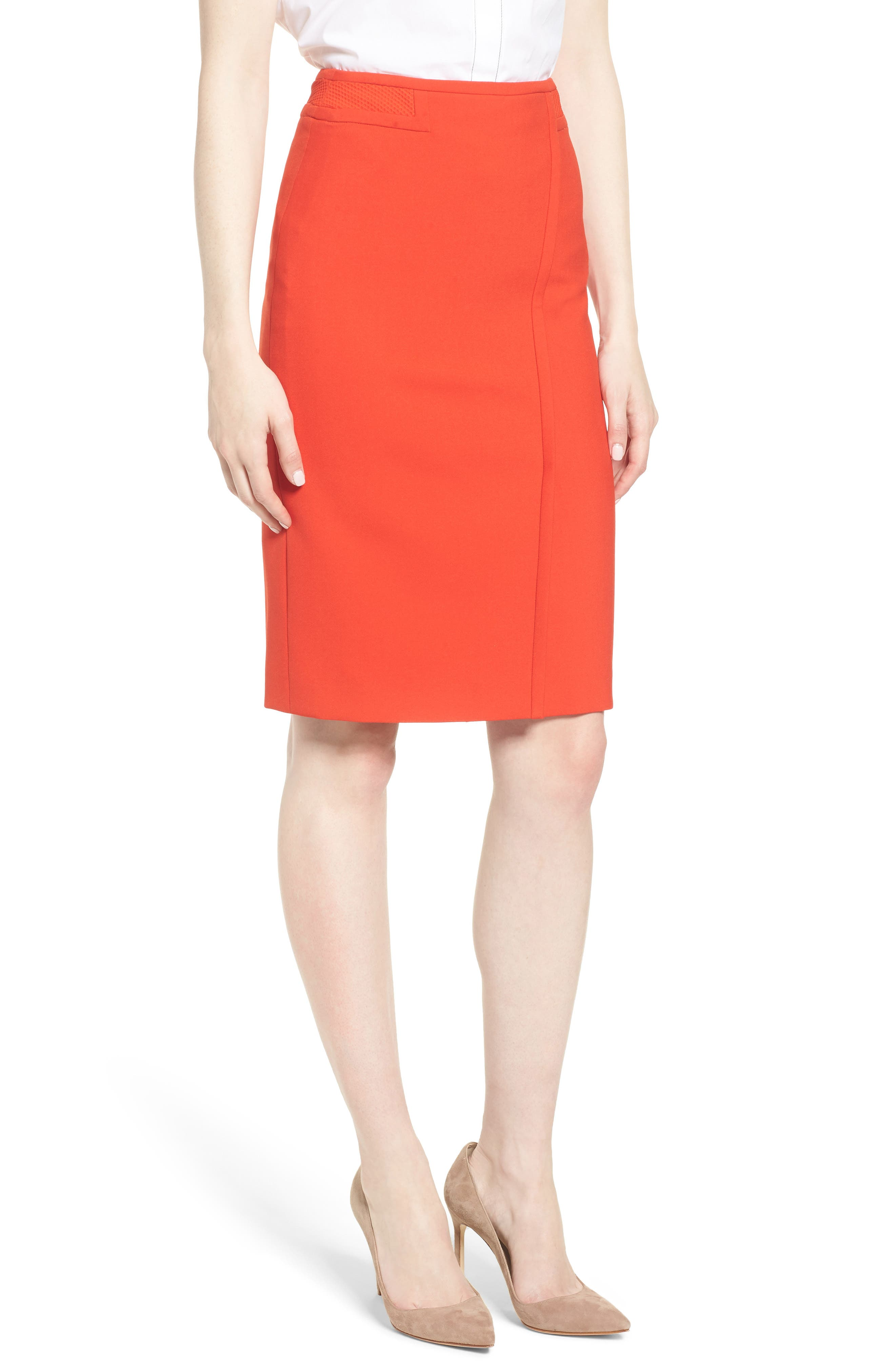 Vadama Ponte Pencil Skirt,                             Main thumbnail 1, color,                             Sunset Orange