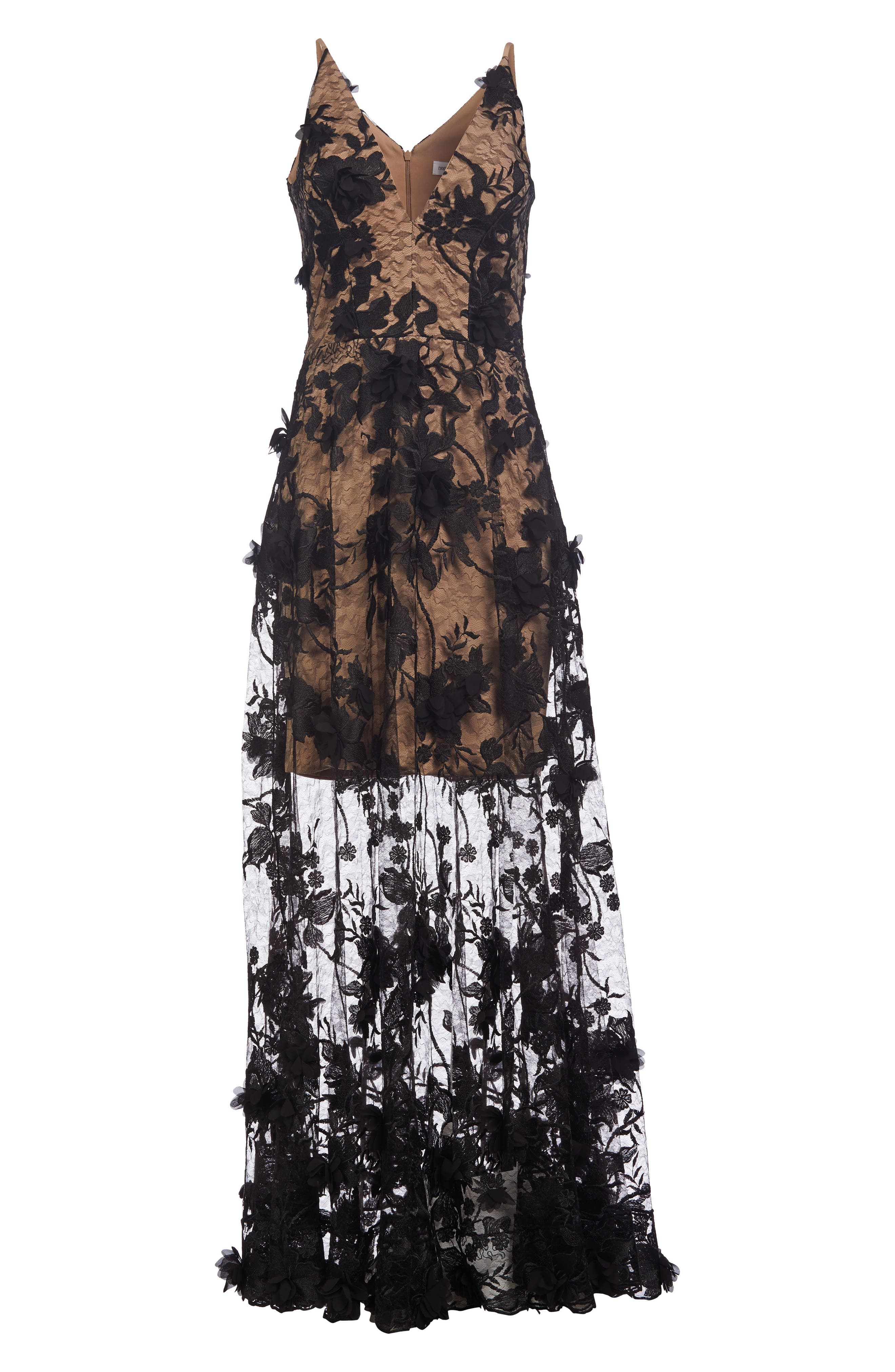Dress the Population Sidney Deep V-Neck 3D Lace Gown