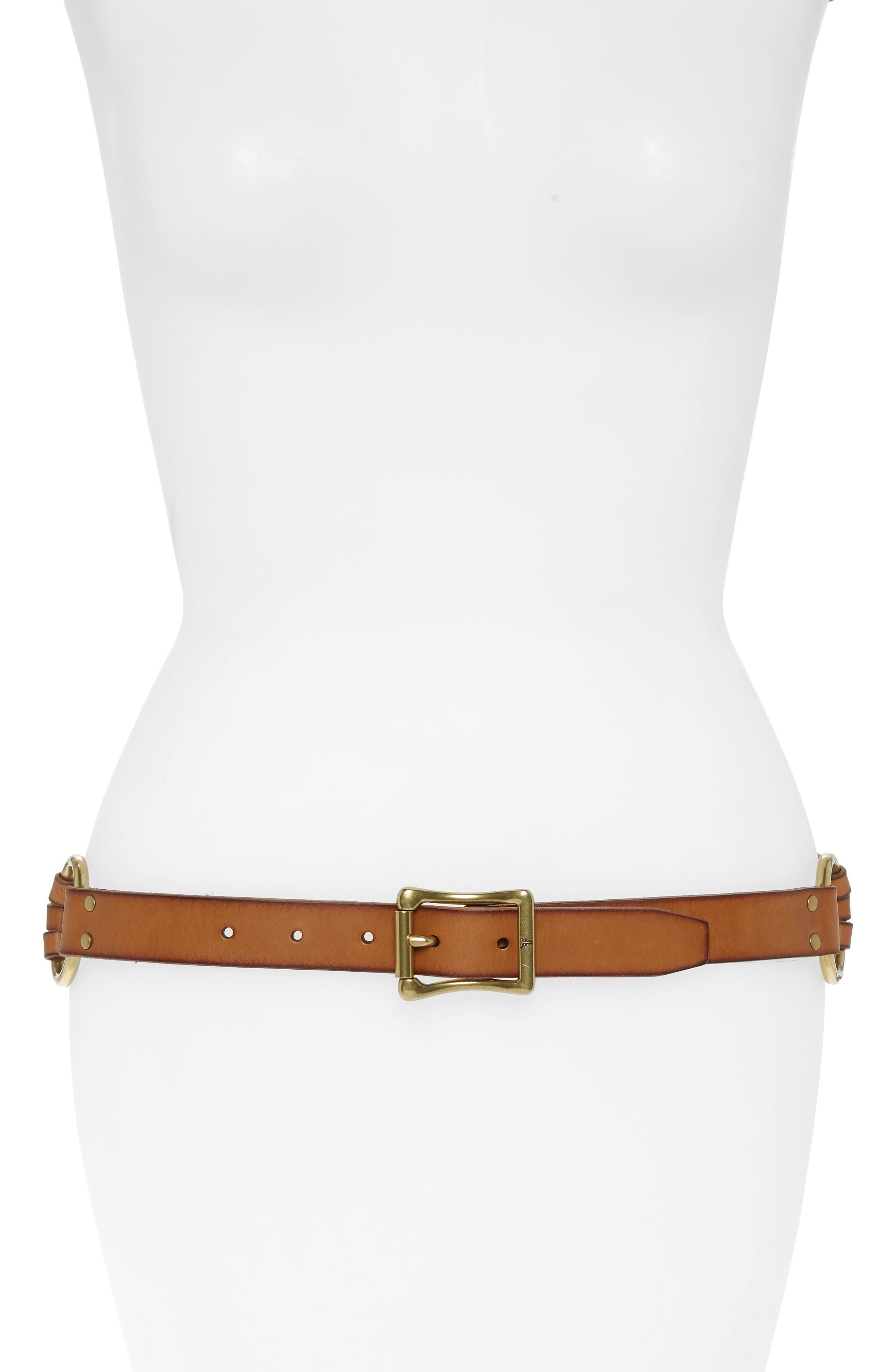 Multi Strap Leather Belt,                         Main,                         color, Tan