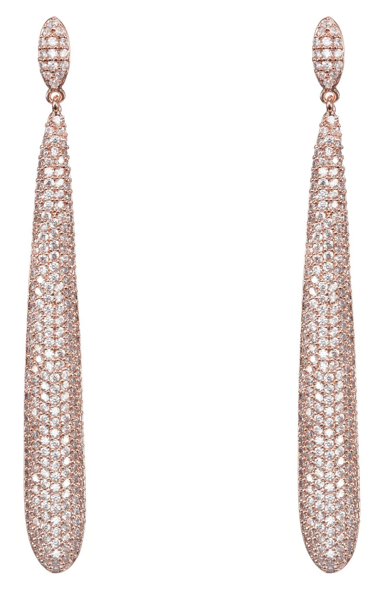 Skinny Teardrop Pavé Earrings,                             Main thumbnail 1, color,                             White/ Rose Gold